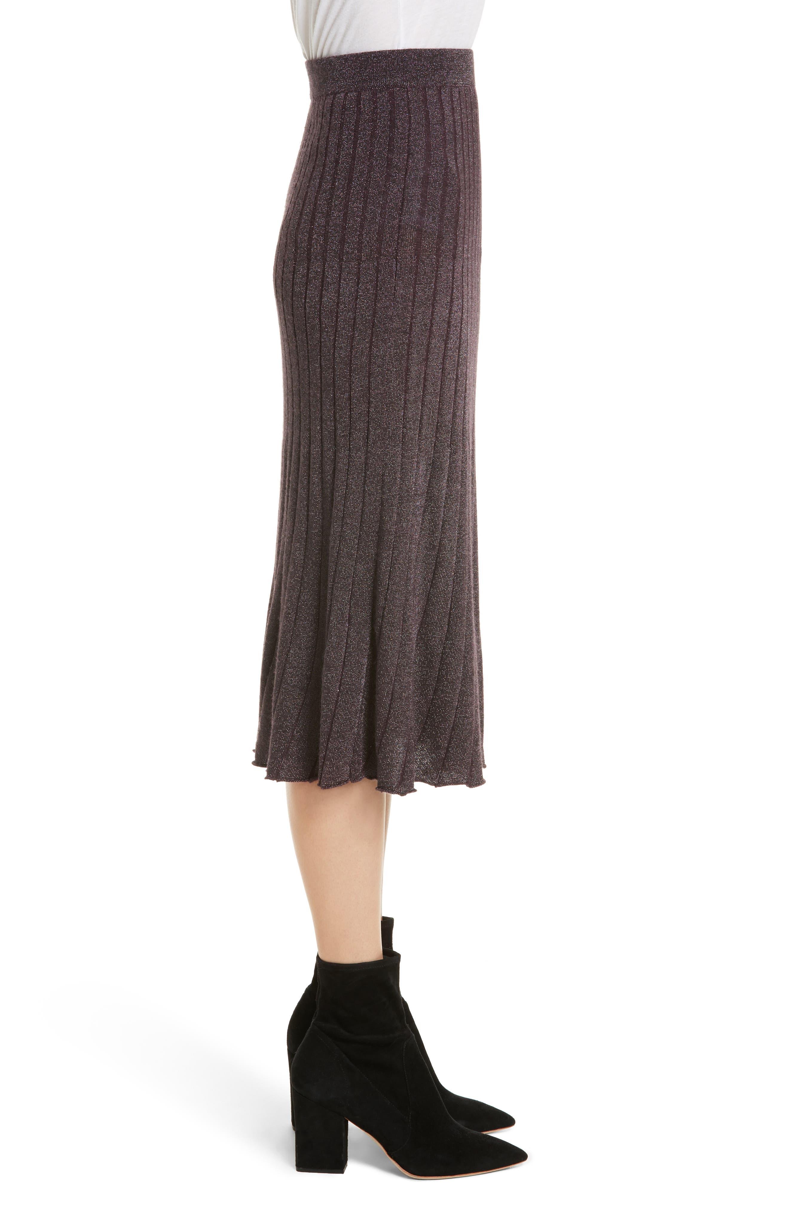 Alternate Image 3  - Rebecca Taylor Metallic Ribbed Knit Skirt
