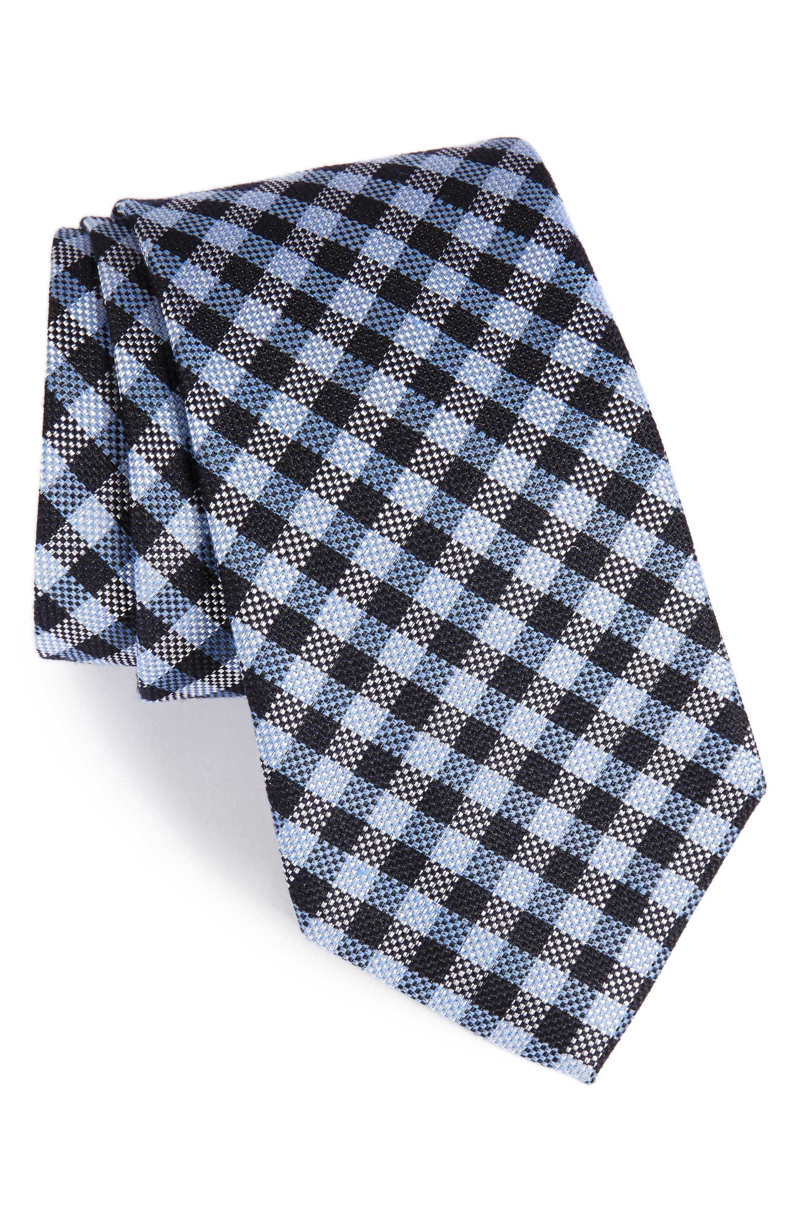Check Silk & Wool Tie,                             Main thumbnail 1, color,                             Blue