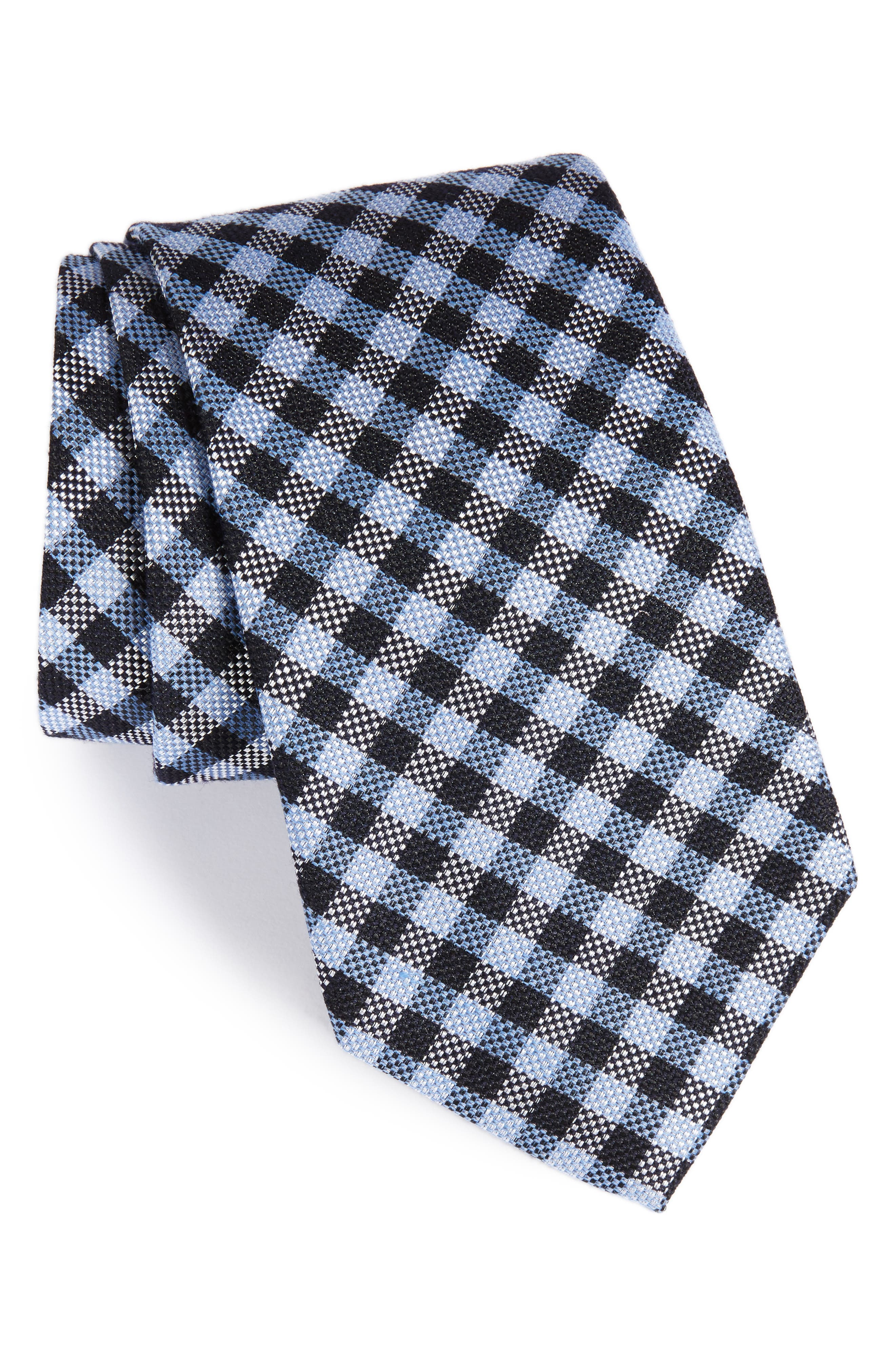 Check Silk & Wool Tie,                         Main,                         color, Blue