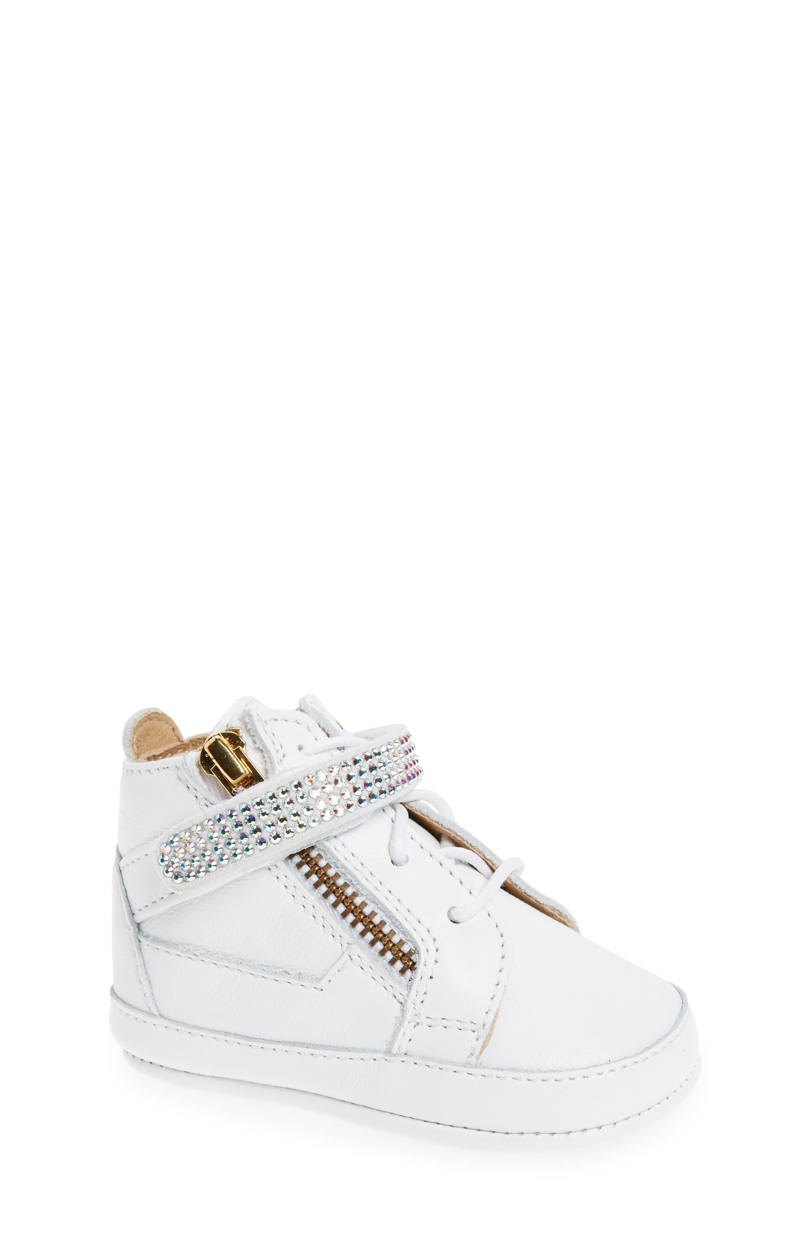 Giuseppe Zanotti Sobja Embellished High Top Crib Shoe (Baby)