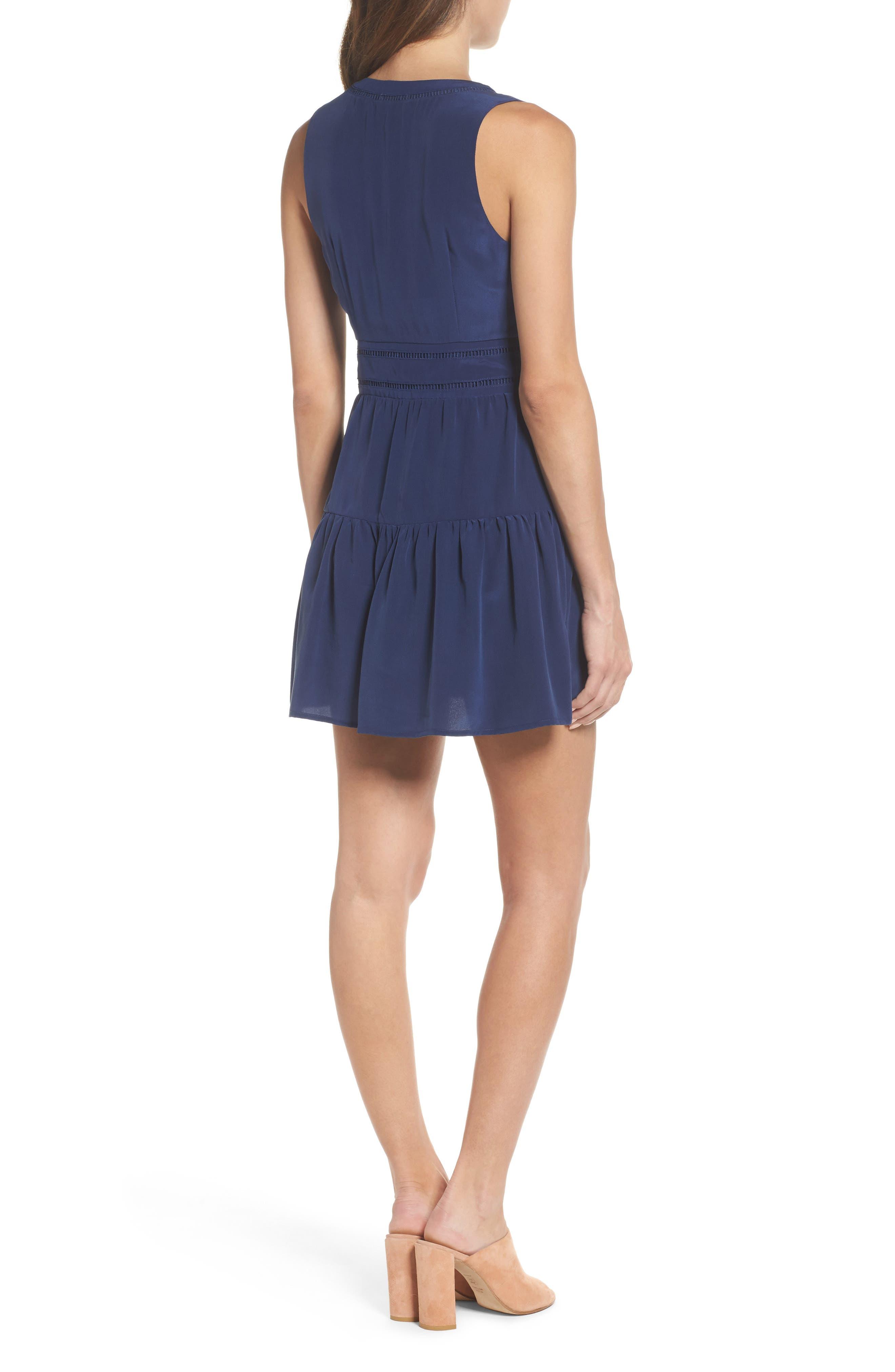 Bilson Fit & Flare Silk Dress,                             Alternate thumbnail 3, color,                             Marine