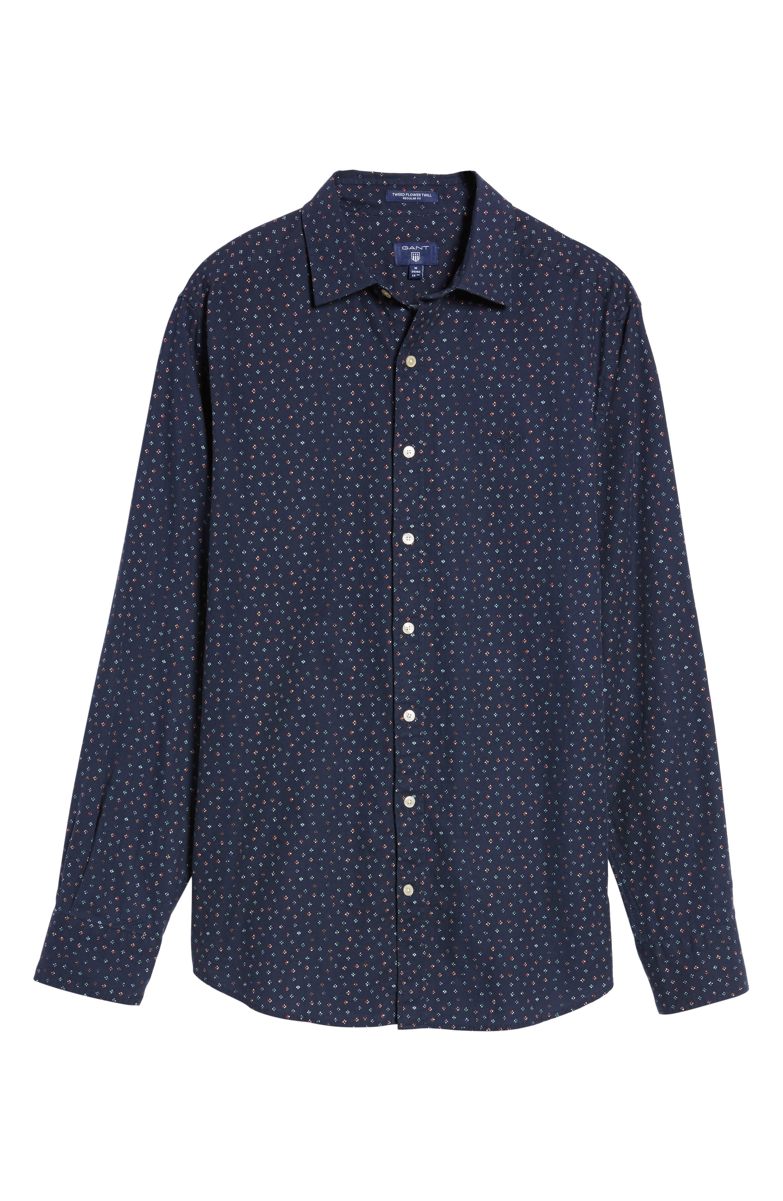 Regular Fit Floral Print Sport Shirt,                             Alternate thumbnail 6, color,                             Evening Blue