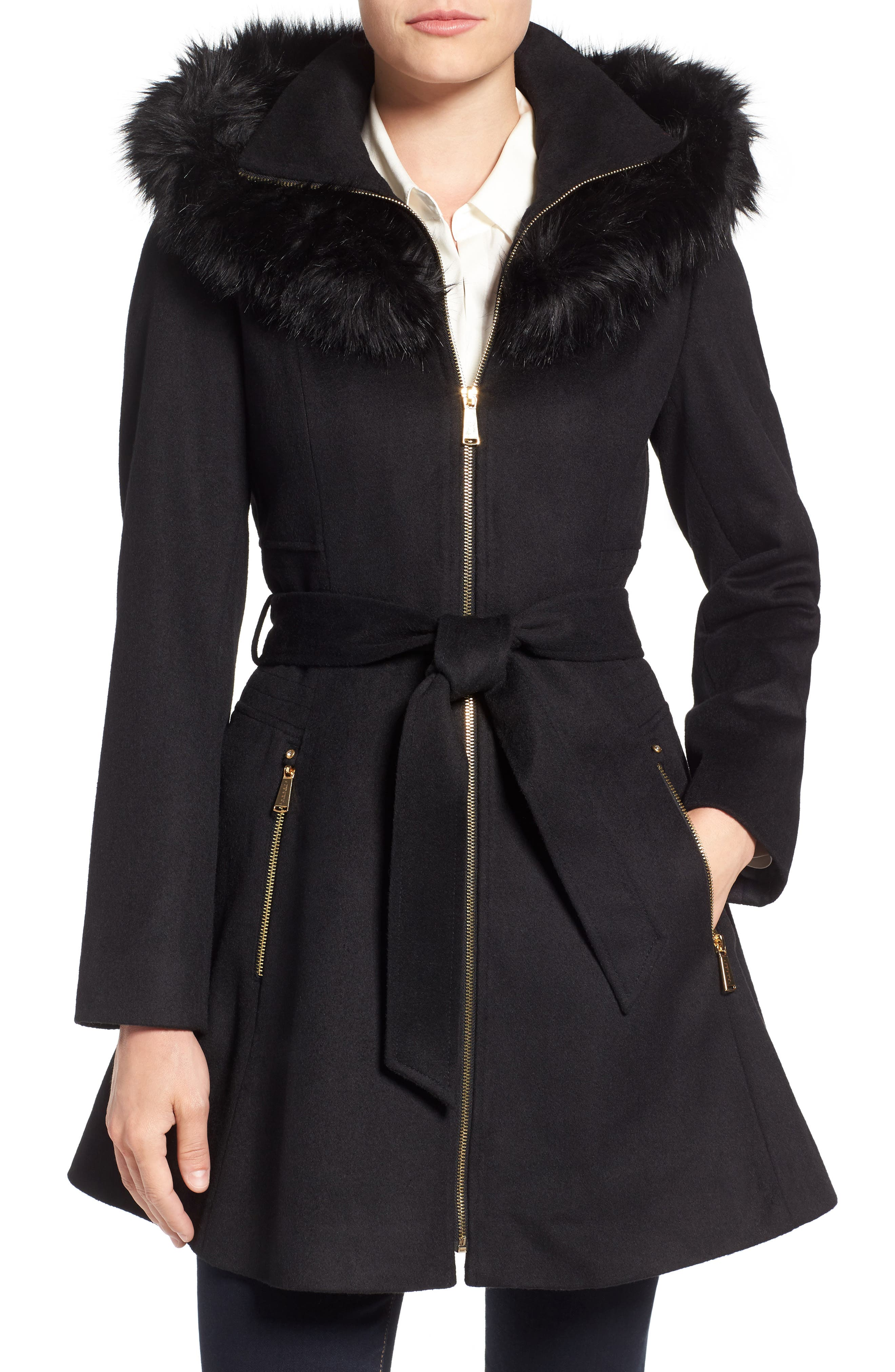 Belted Fit & Flare Coat with Faux Fur Trim,                         Main,                         color, Black