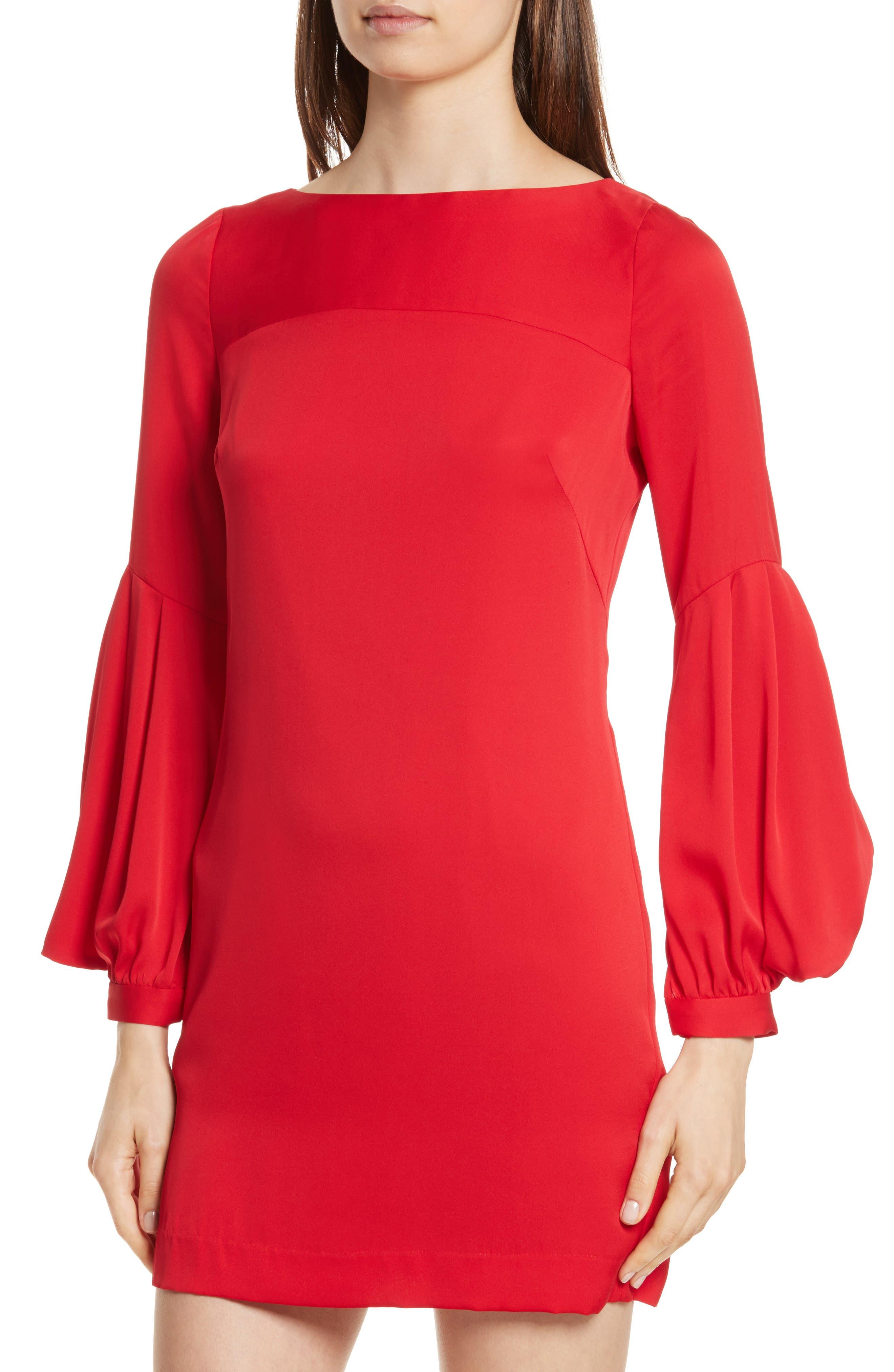 Shana Stretch Silk Bishop Sleeve Dress,                             Alternate thumbnail 4, color,                             Lipstick