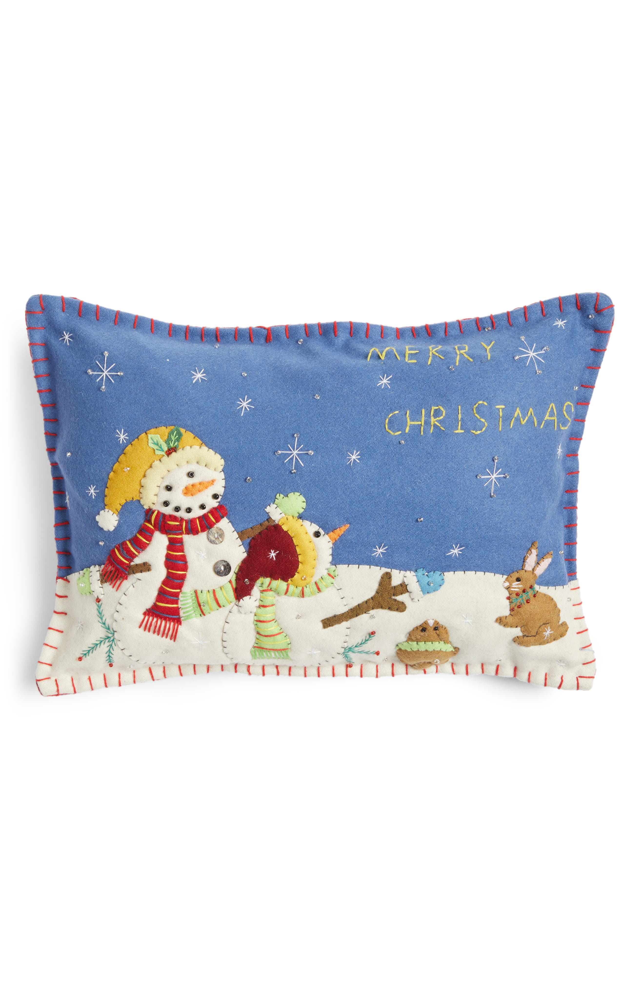 Snowman Pillow,                             Main thumbnail 1, color,                             Blue