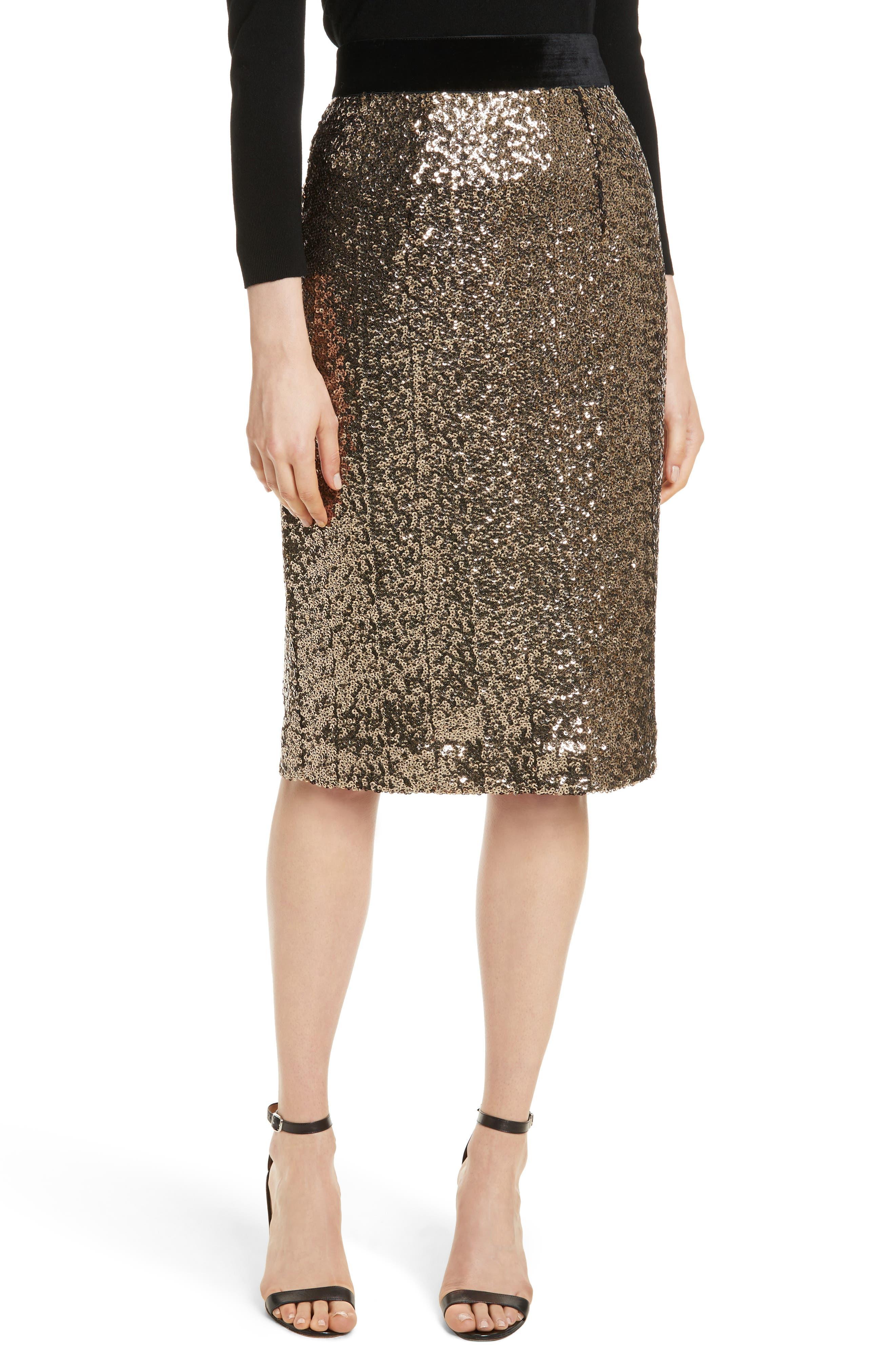 Classic Sequin Pencil Skirt,                         Main,                         color, Antique Gold