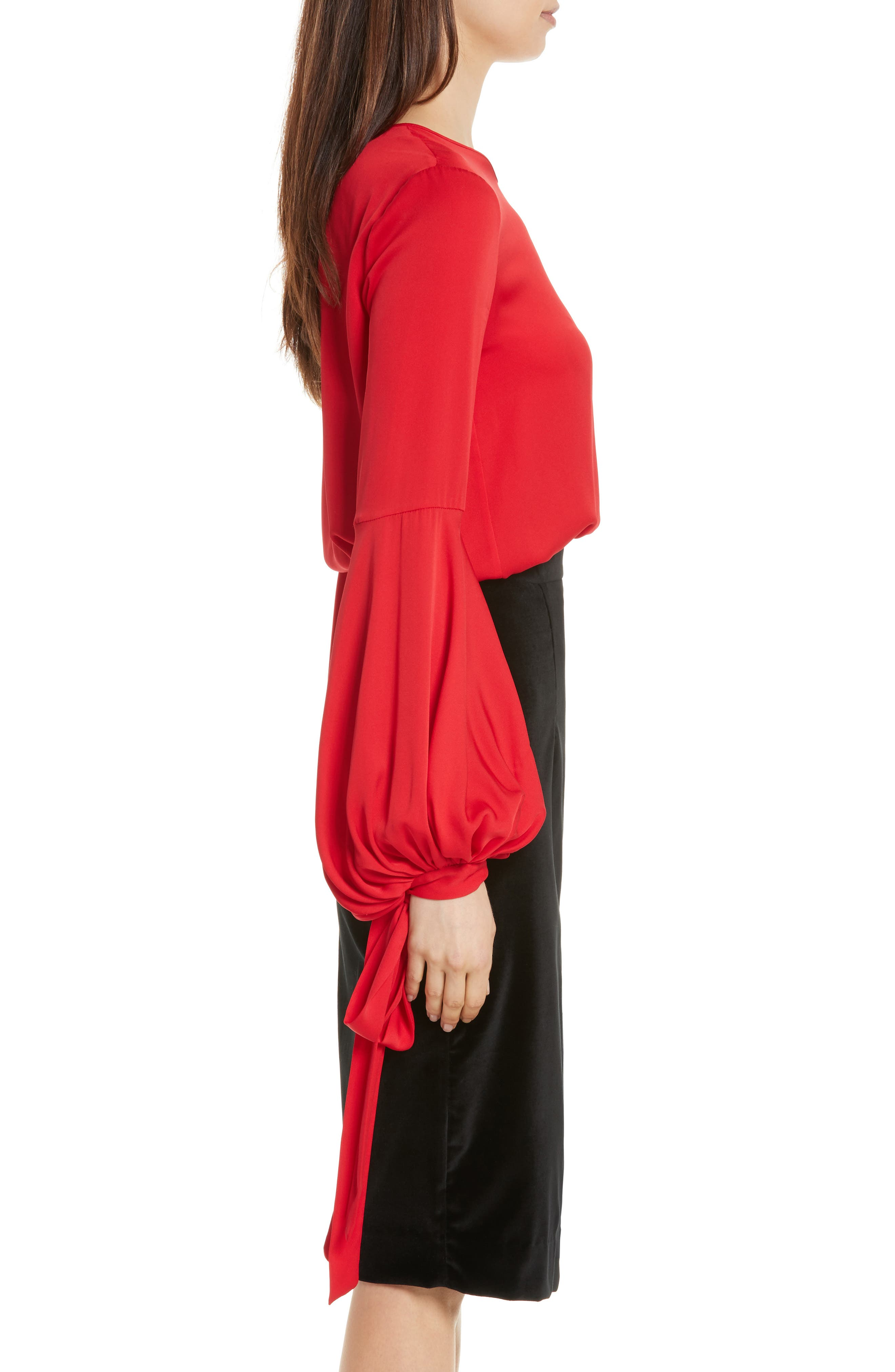 Juliette Stretch Silk Blouse,                             Alternate thumbnail 3, color,                             Lipstick Red