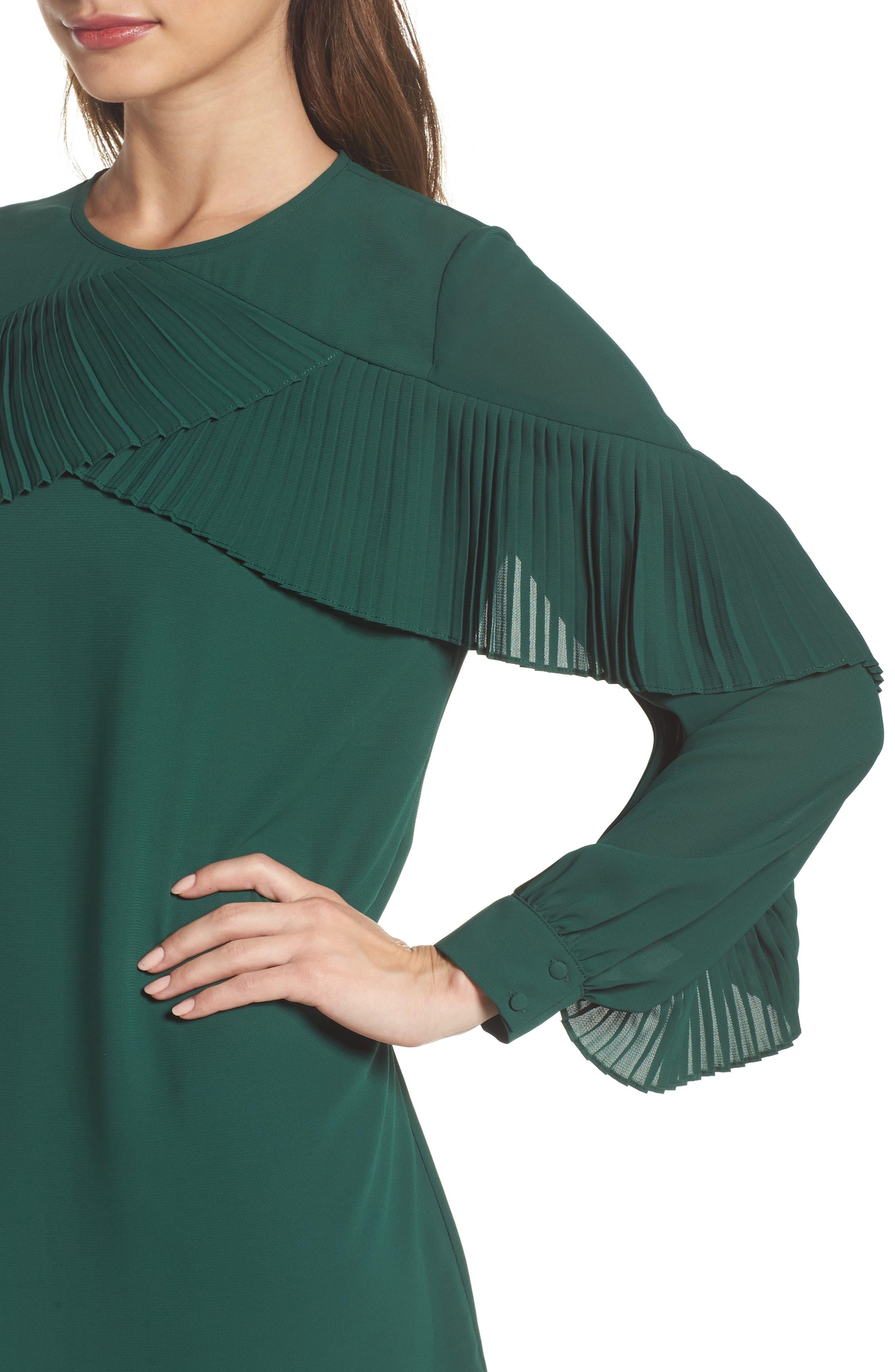 Ruffle Shift Dress,                             Alternate thumbnail 4, color,                             Green Evergreen