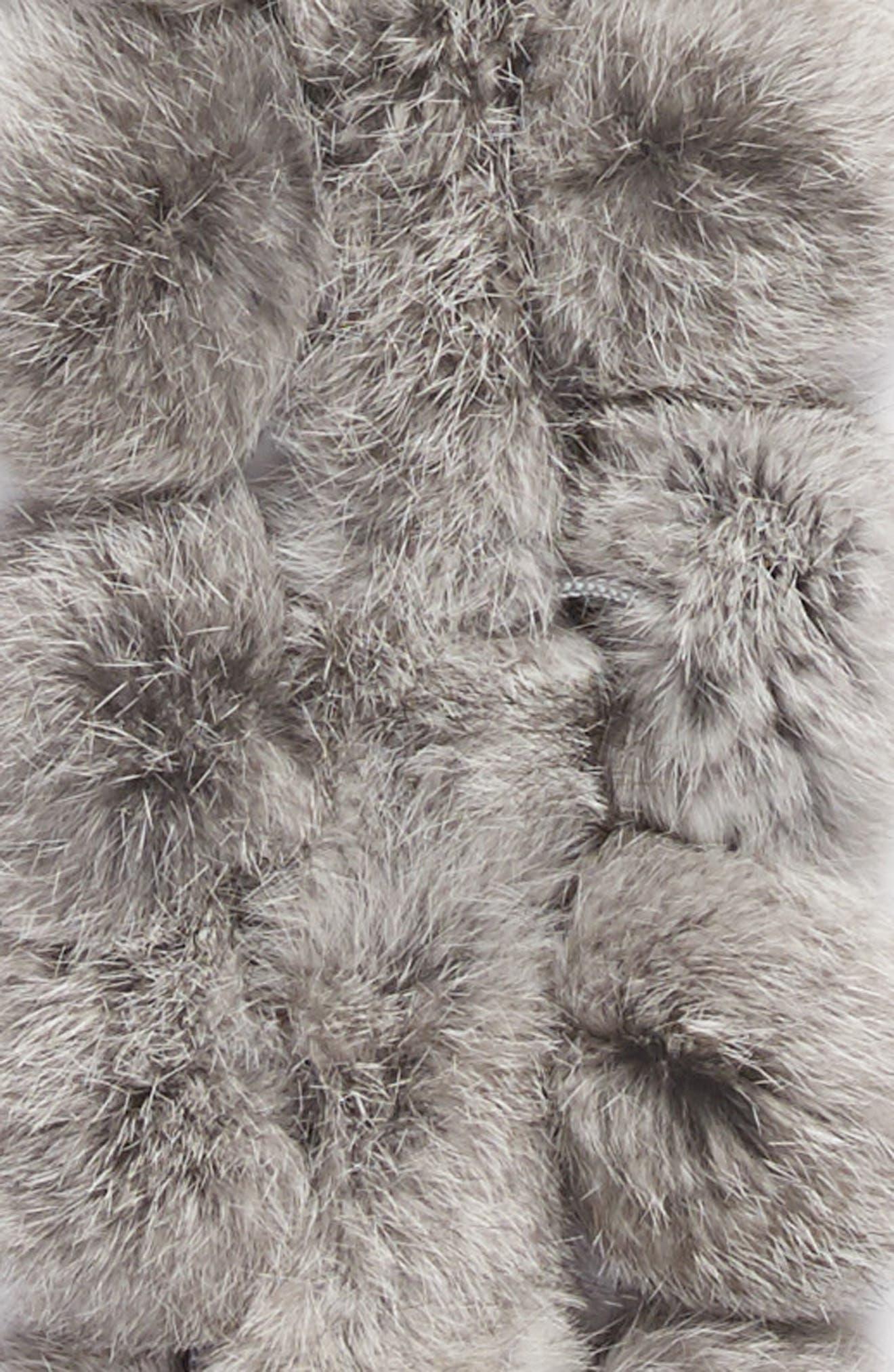 Genuine Rabbit Fur Scarf,                             Alternate thumbnail 4, color,                             Grey