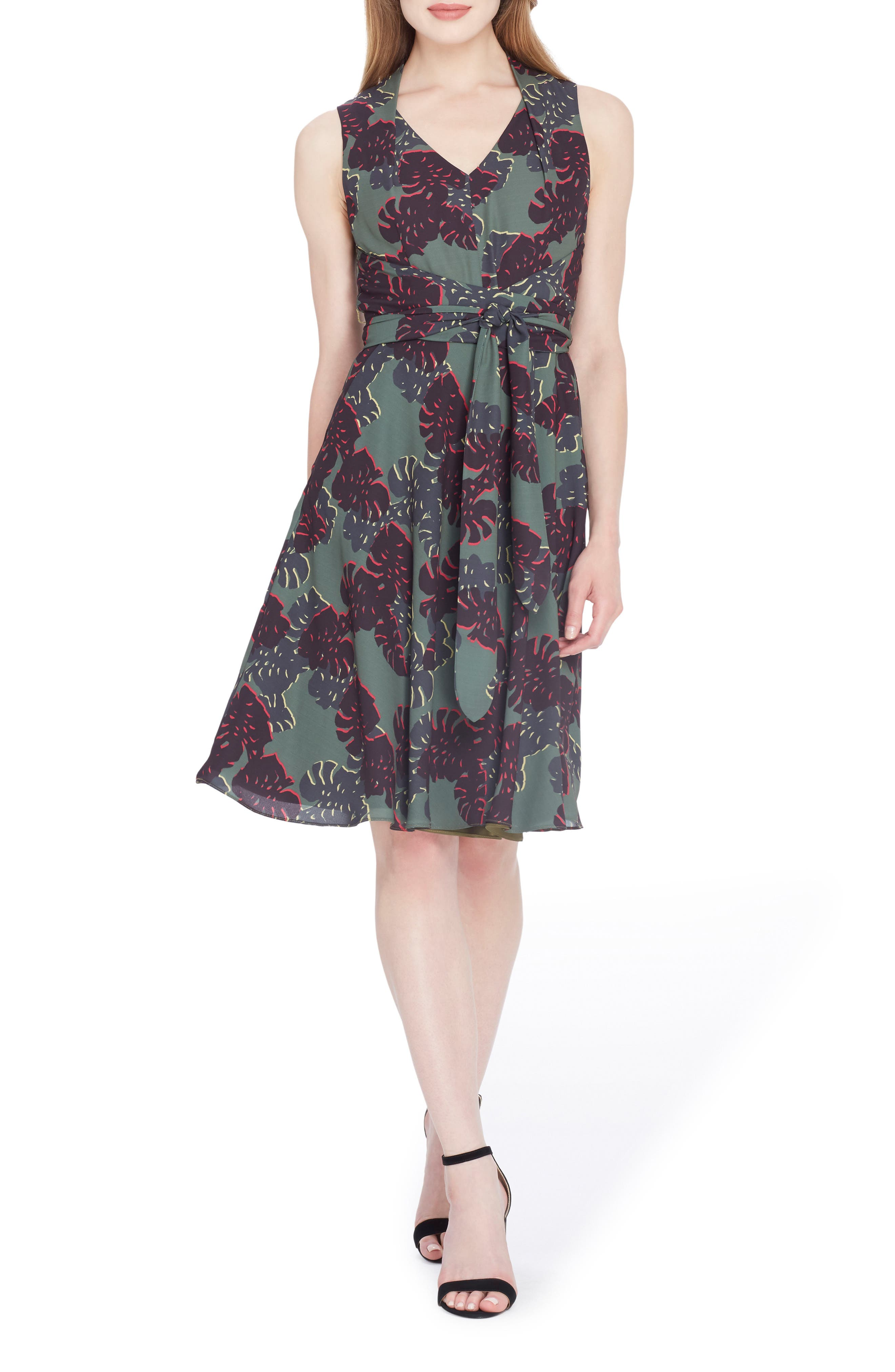 Print Sleeveless A-Line Dress,                         Main,                         color, Olive/ Black/ Gold