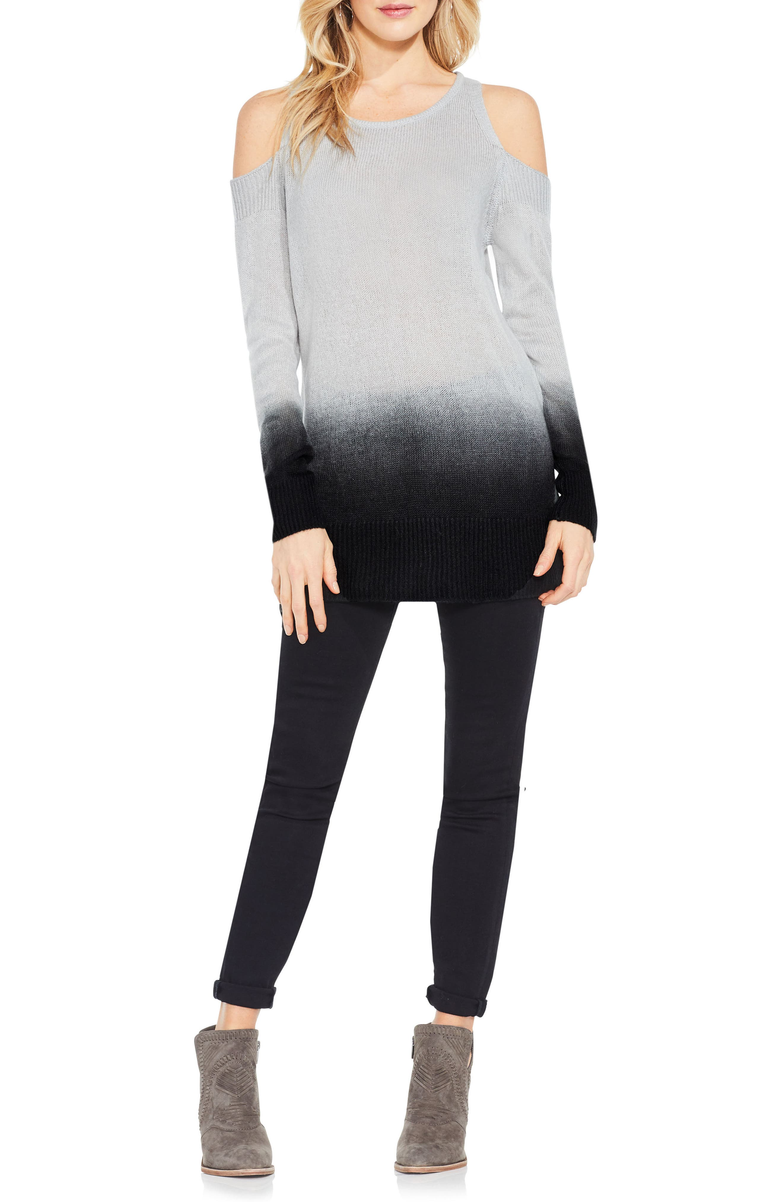 Alternate Image 2  - Two by Vince Camuto Cold Shoulder Ombré Sweater