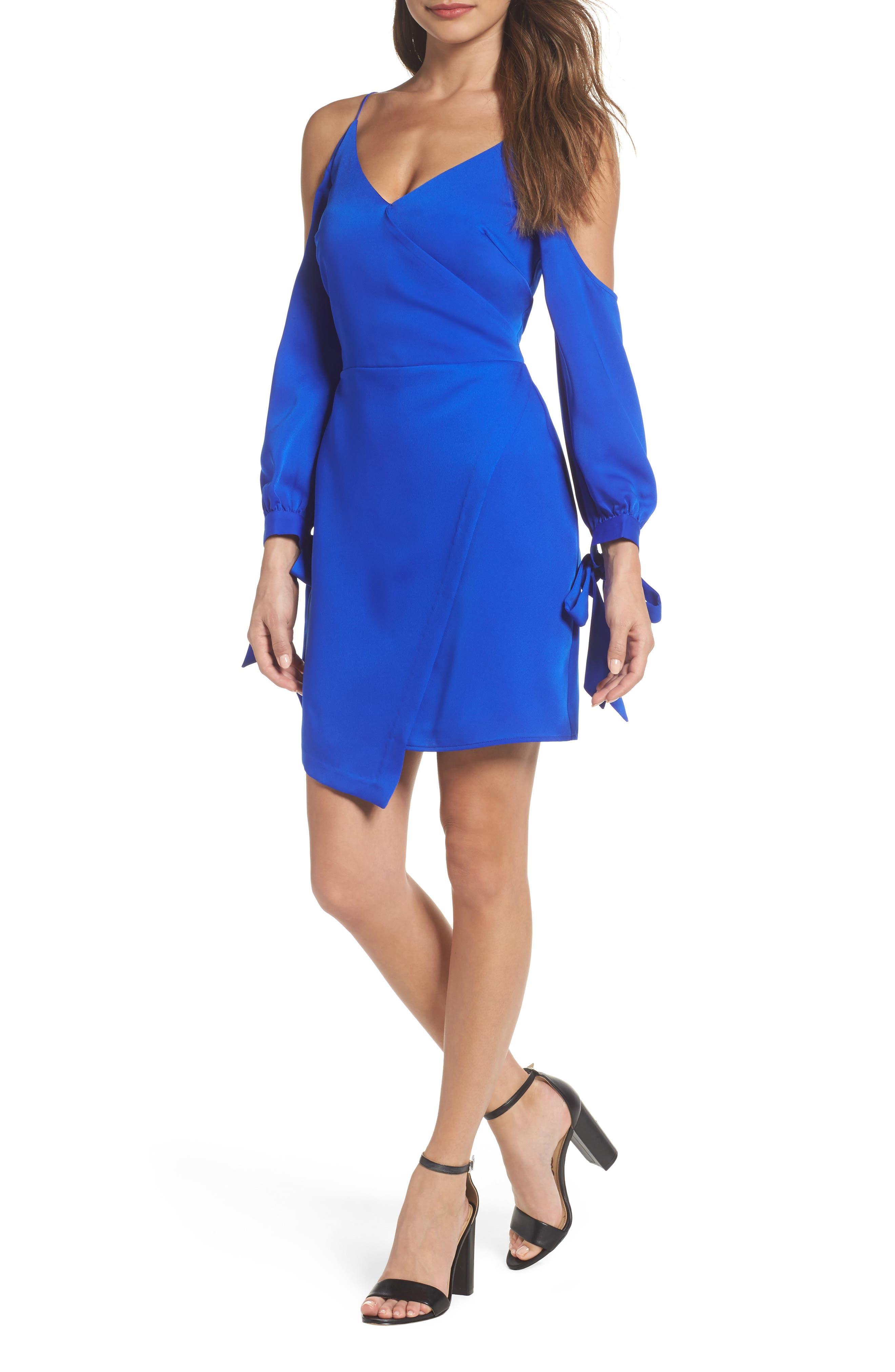 Amelia Cold Shoulder Sheath Dress,                         Main,                         color, Electric Blue