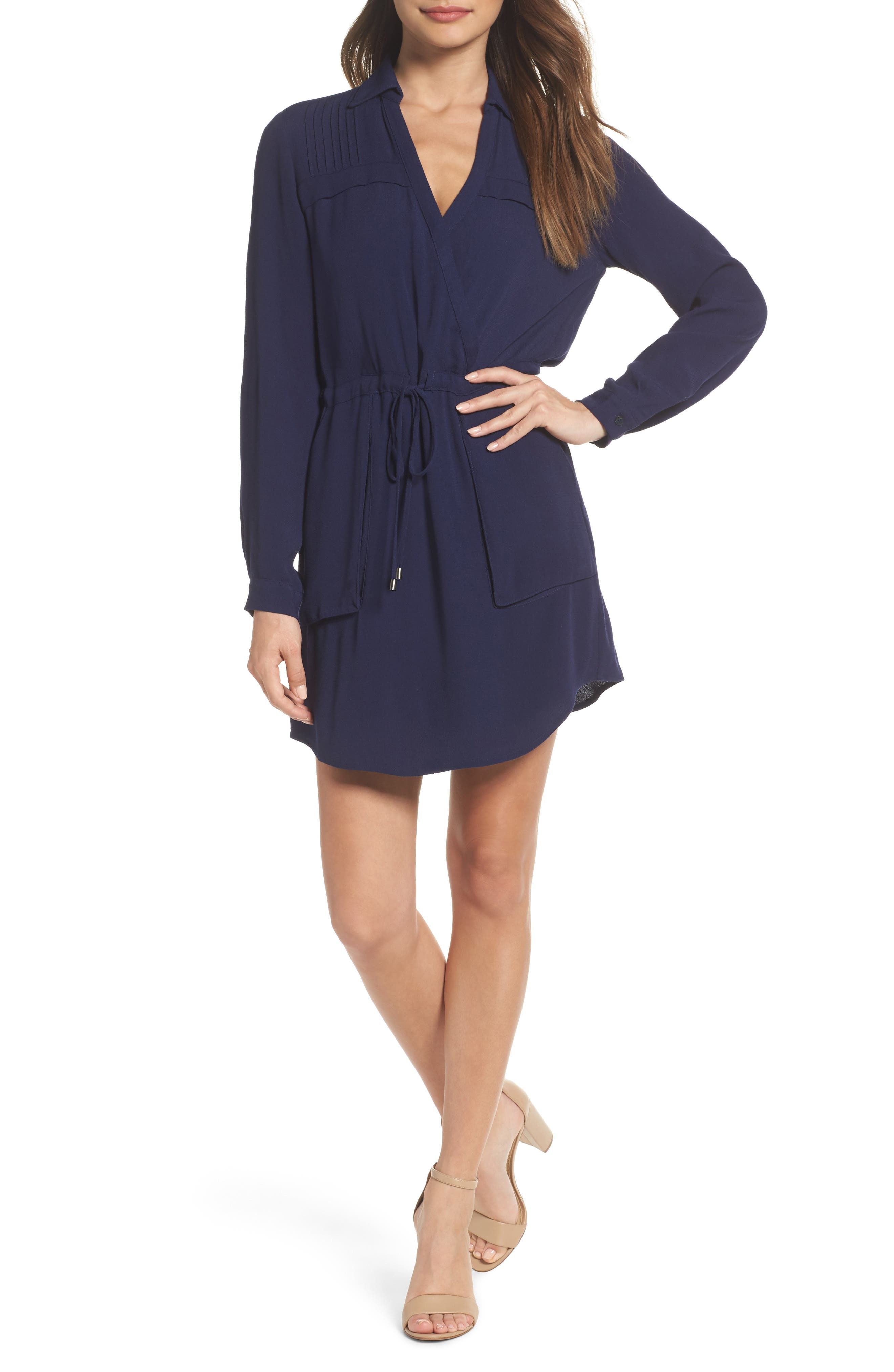 Drew Crepe Shirtdress,                         Main,                         color, Navy