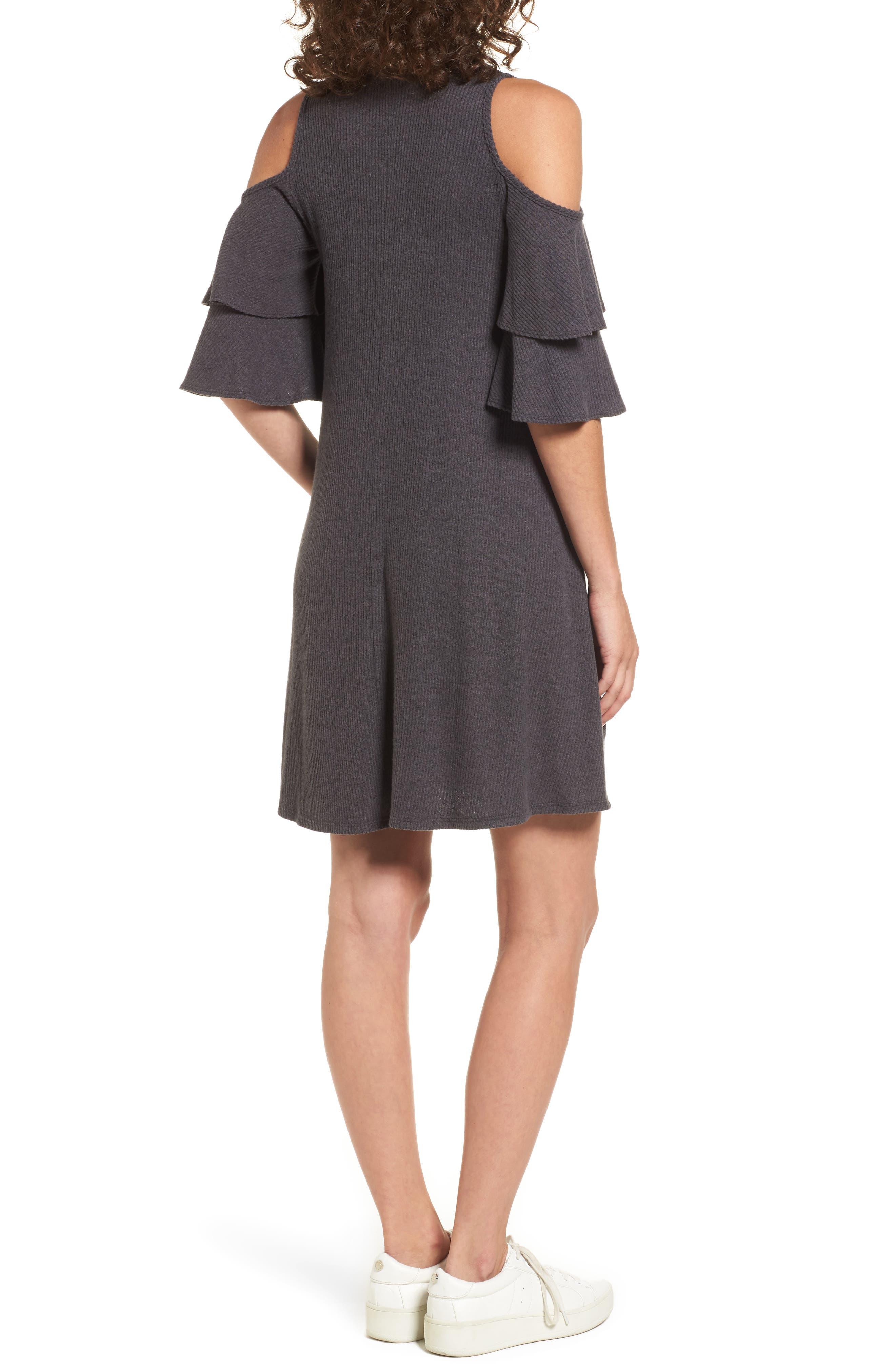 Ruffle Cold Shoulder Shift Dress,                             Alternate thumbnail 2, color,                             Charcoal