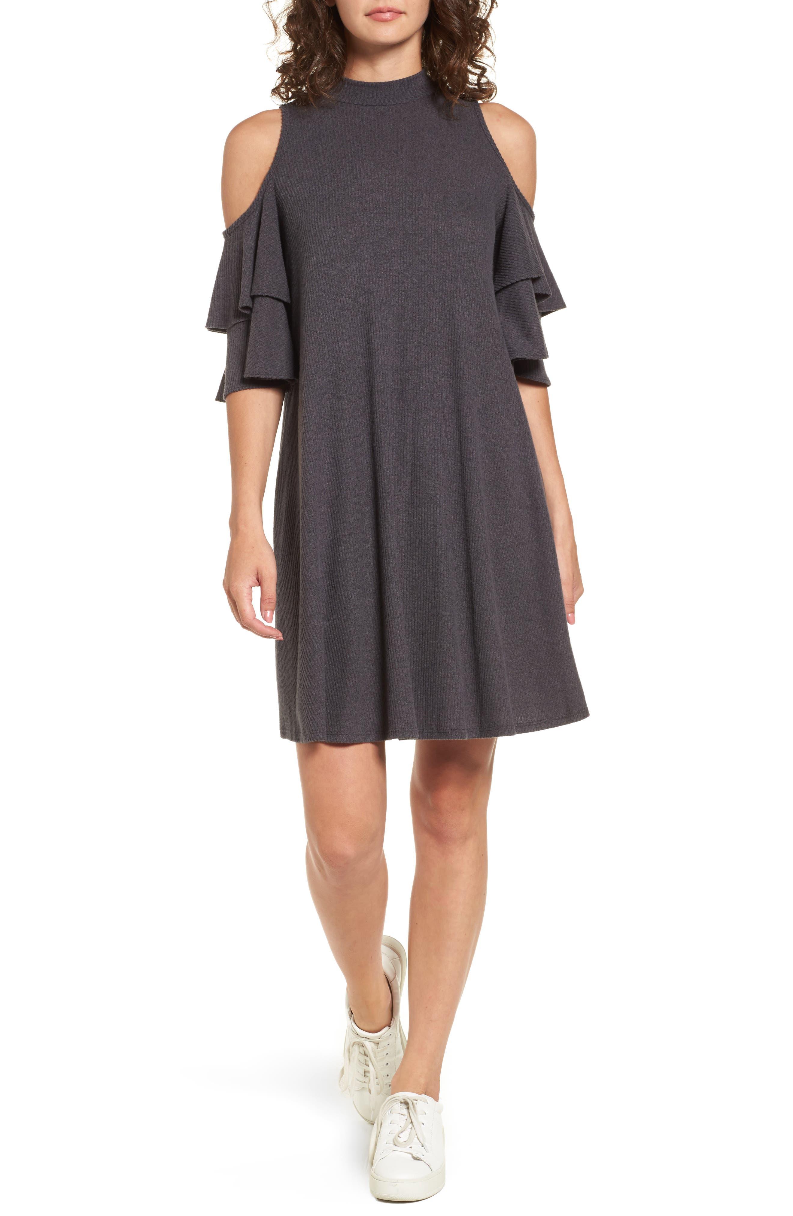 Ruffle Cold Shoulder Shift Dress,                         Main,                         color, Charcoal