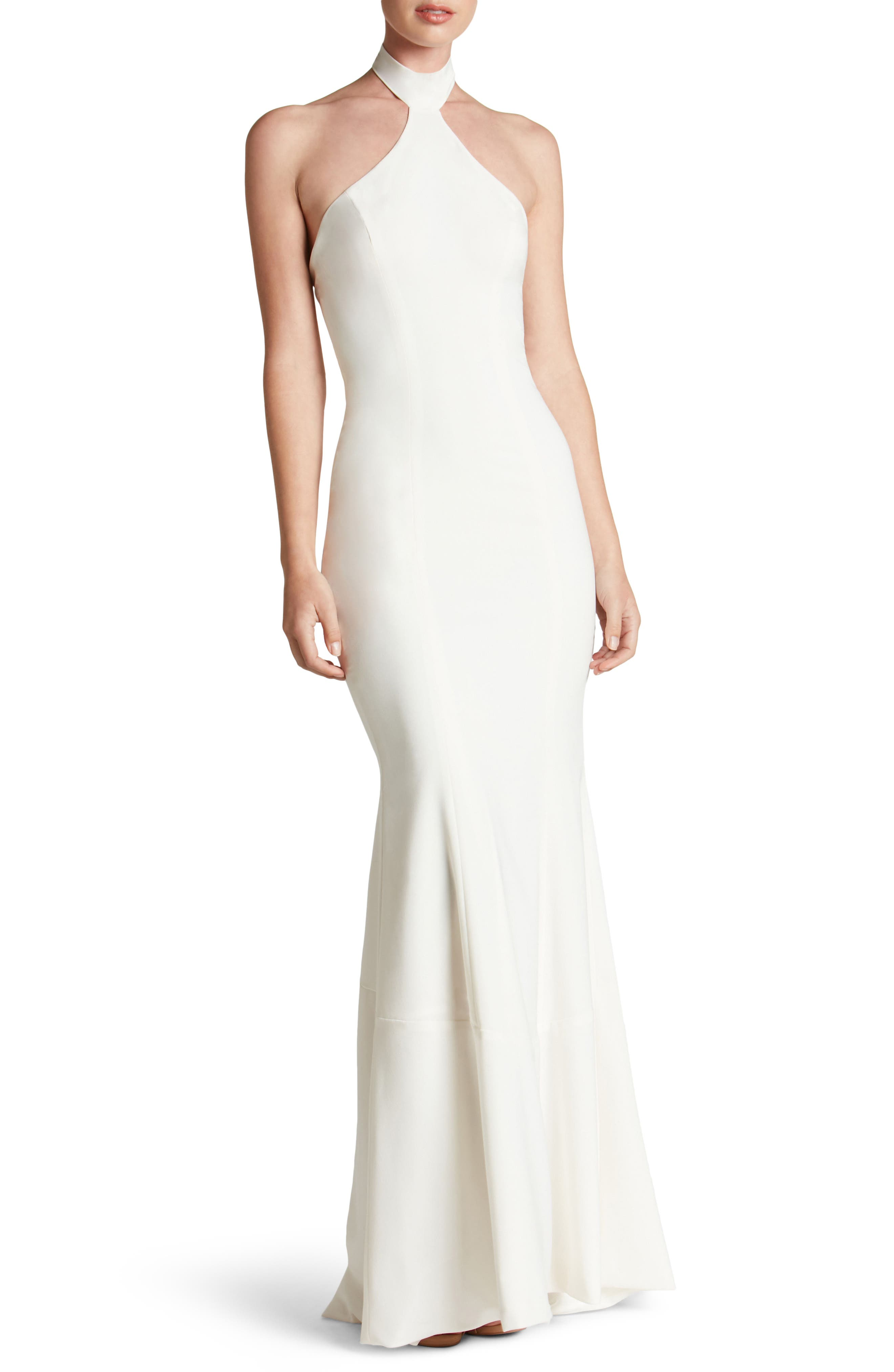 Taylor Crepe Halter Gown,                             Main thumbnail 1, color,                             Off White