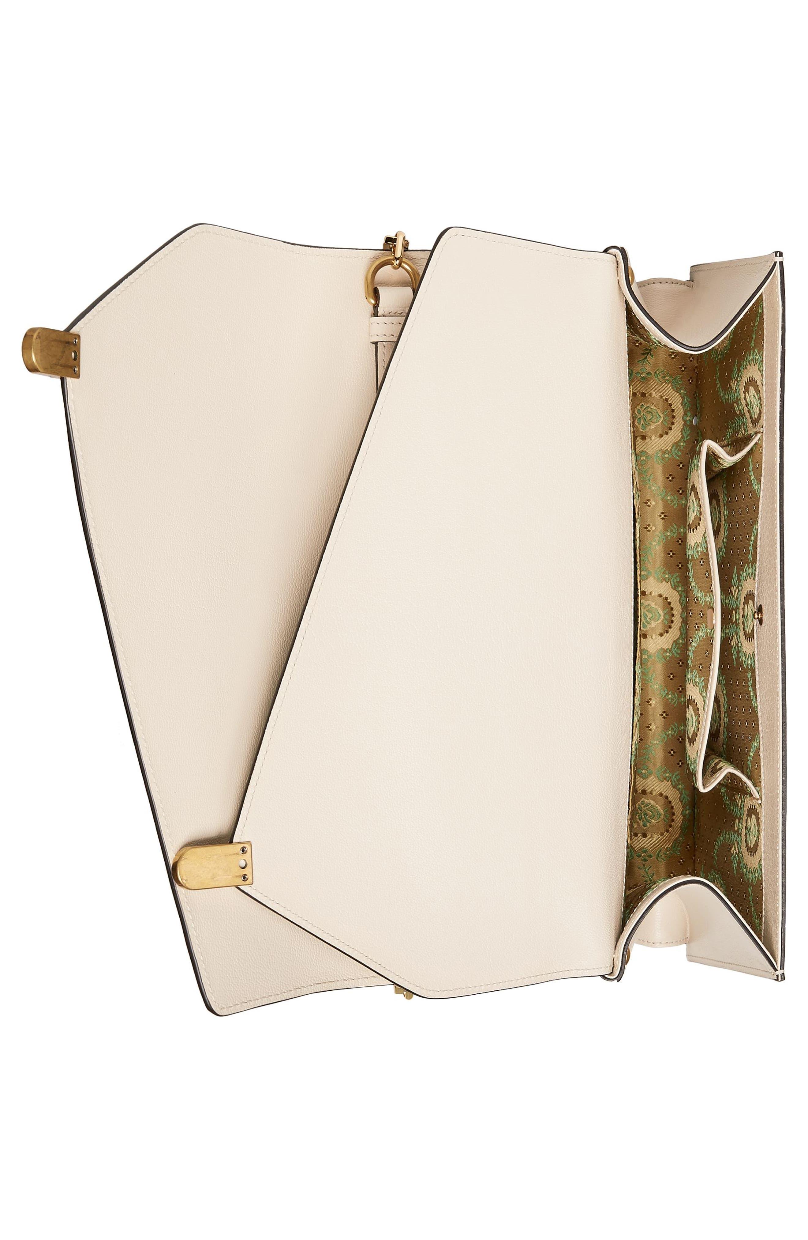 Medium Linea P Butterfly Painted Leather & Genuine Snakeskin Top Handle Satchel,                             Alternate thumbnail 4, color,                             White/ Multi