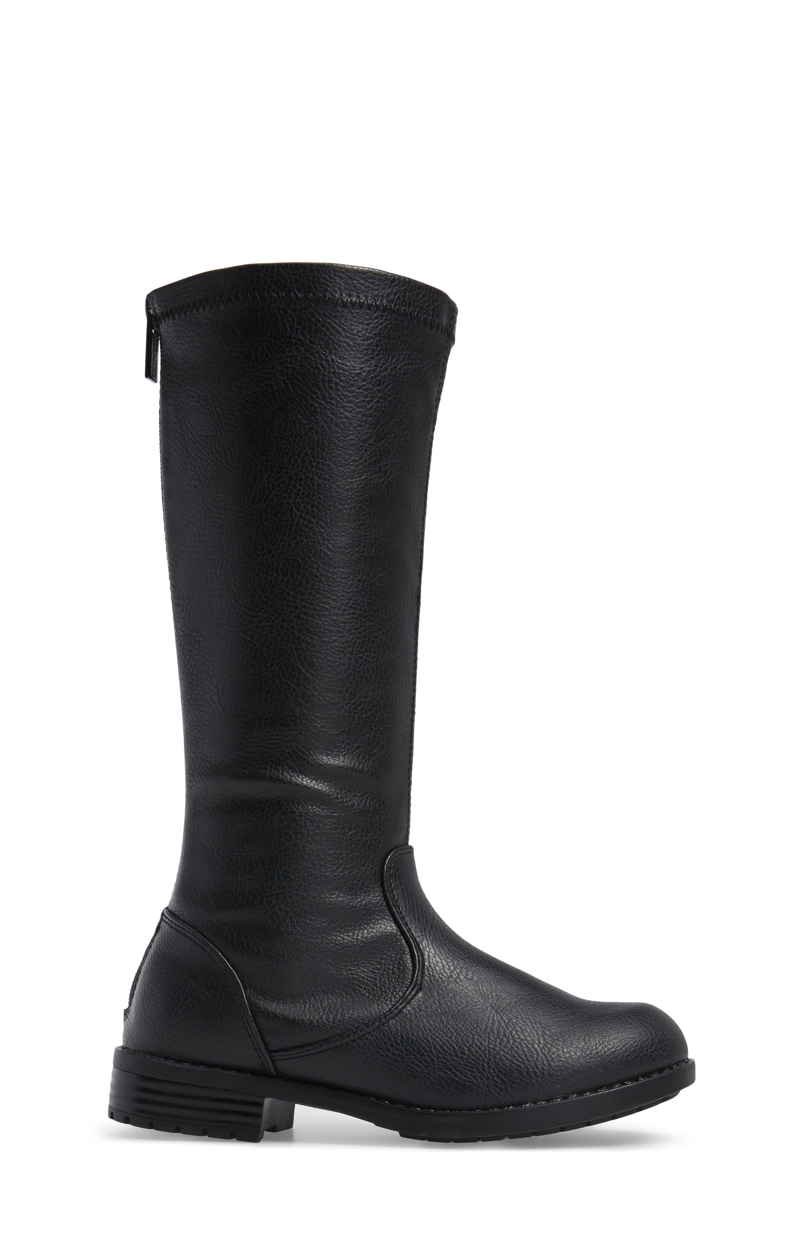 Autumn Stretch Boot,                             Alternate thumbnail 3, color,                             Black Faux Leather