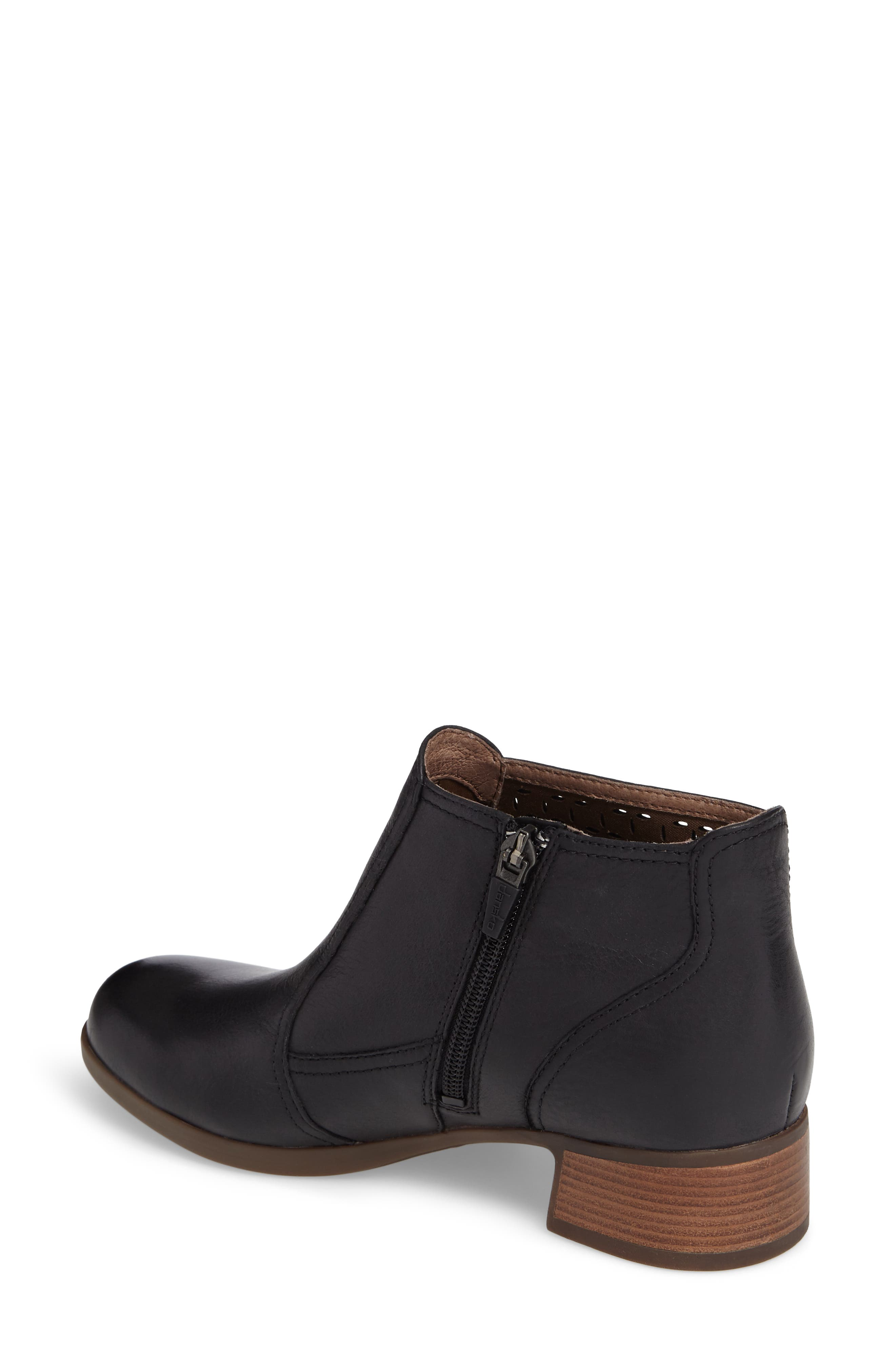 Liberty Laser Cut Bootie,                             Alternate thumbnail 2, color,                             Black Burnished Nappa Leather