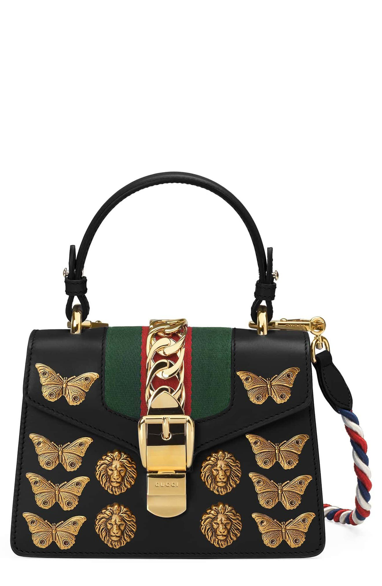 GUCCI Mini Sylvie Animal Studs Leather Shoulder Bag