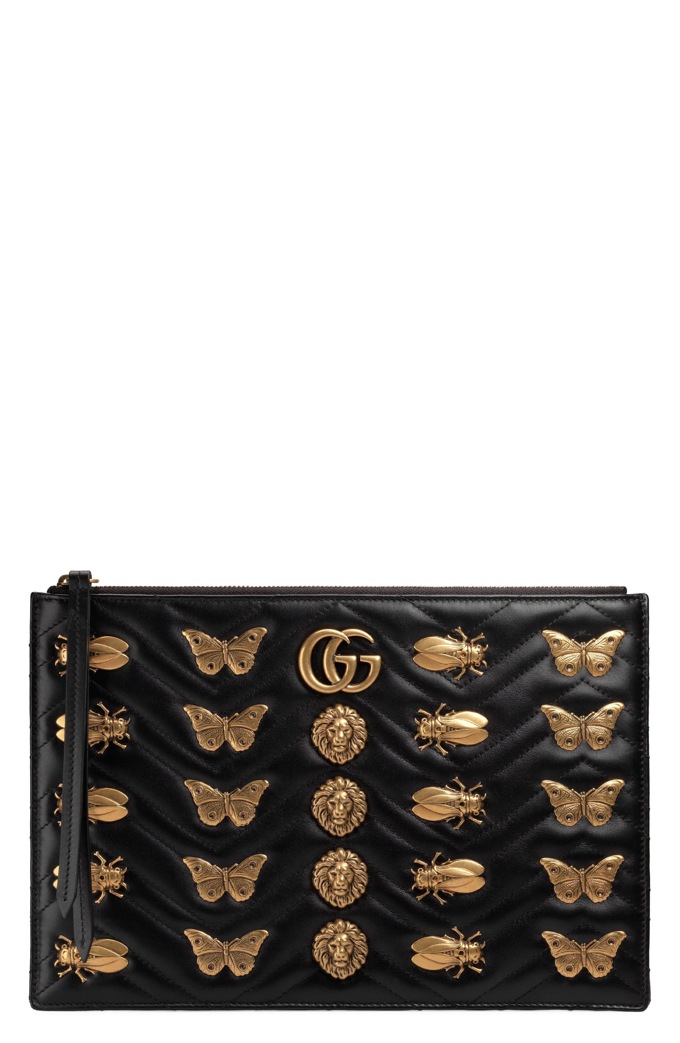 GG Marmont 2.0 Animal Stud Matelassé Leather Pouch,                         Main,                         color, Nero
