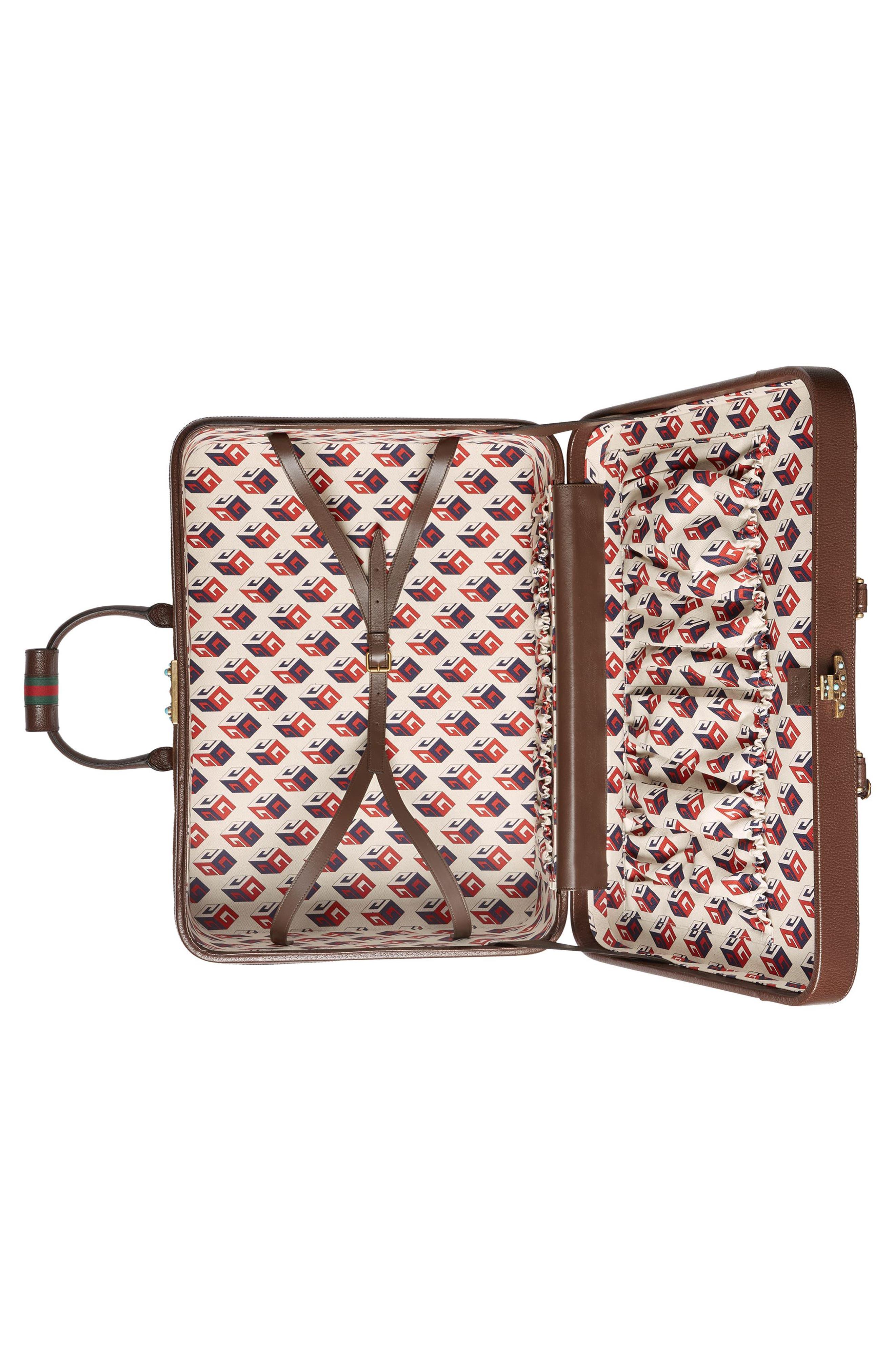Large Echo GG Supreme Canvas & Leather Suitcase,                             Alternate thumbnail 2, color,                             Beige/ Ebony