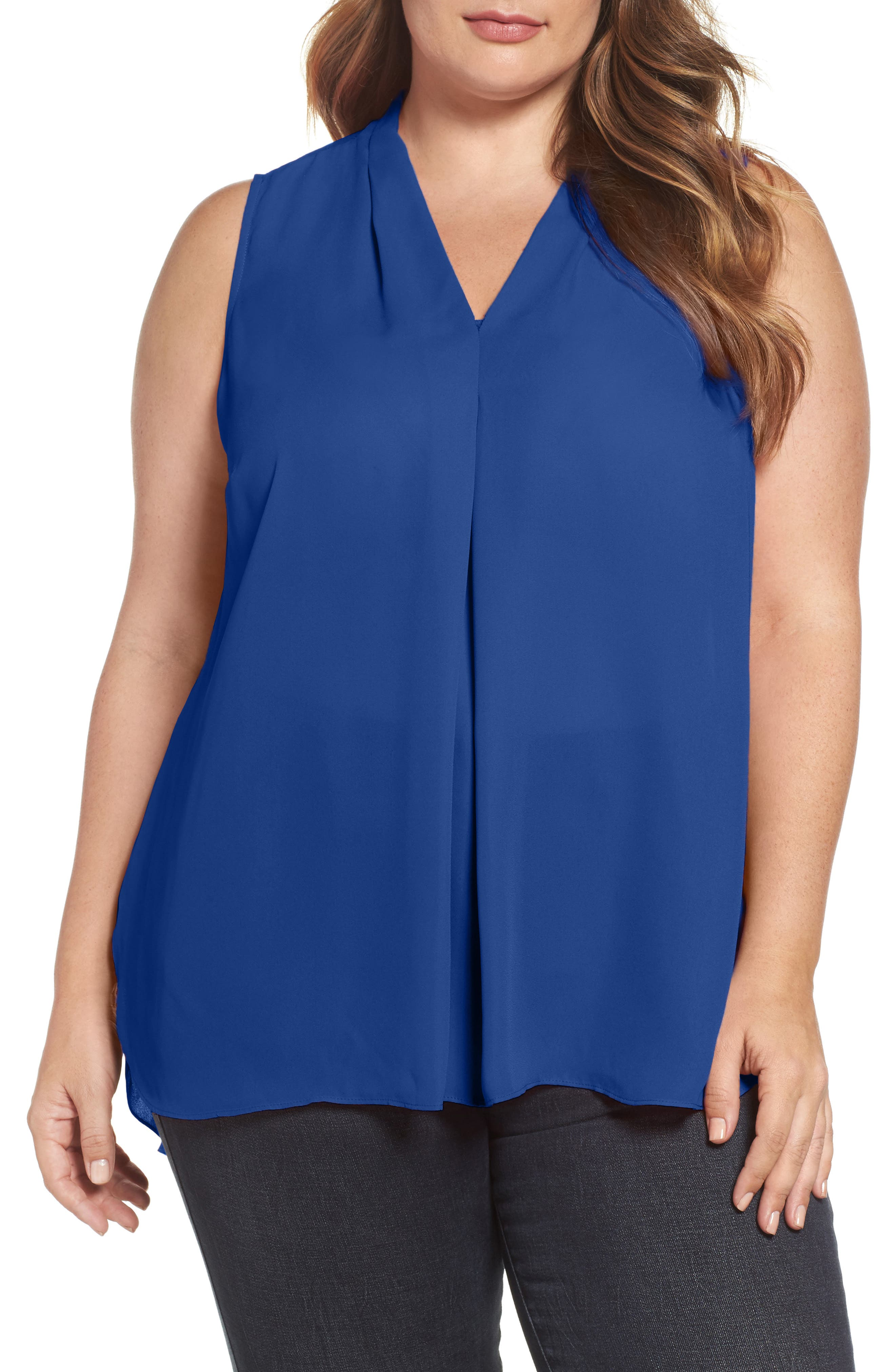 Vince Camuto Sleeveless Inverted Pleat Top (Plus Size)