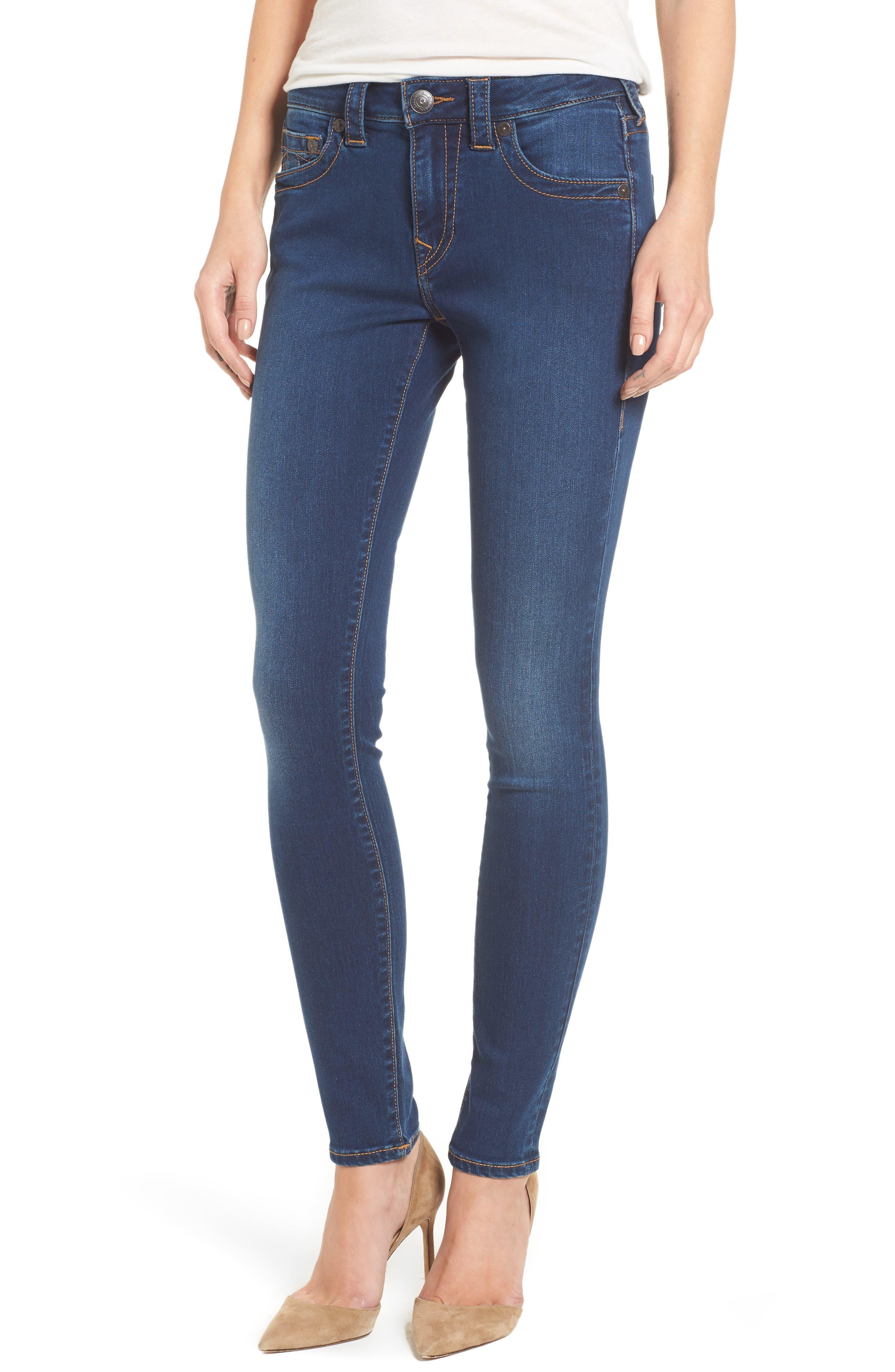 Jennie Curvy Skinny Jeans,                             Main thumbnail 1, color,                             Lands End Indigo