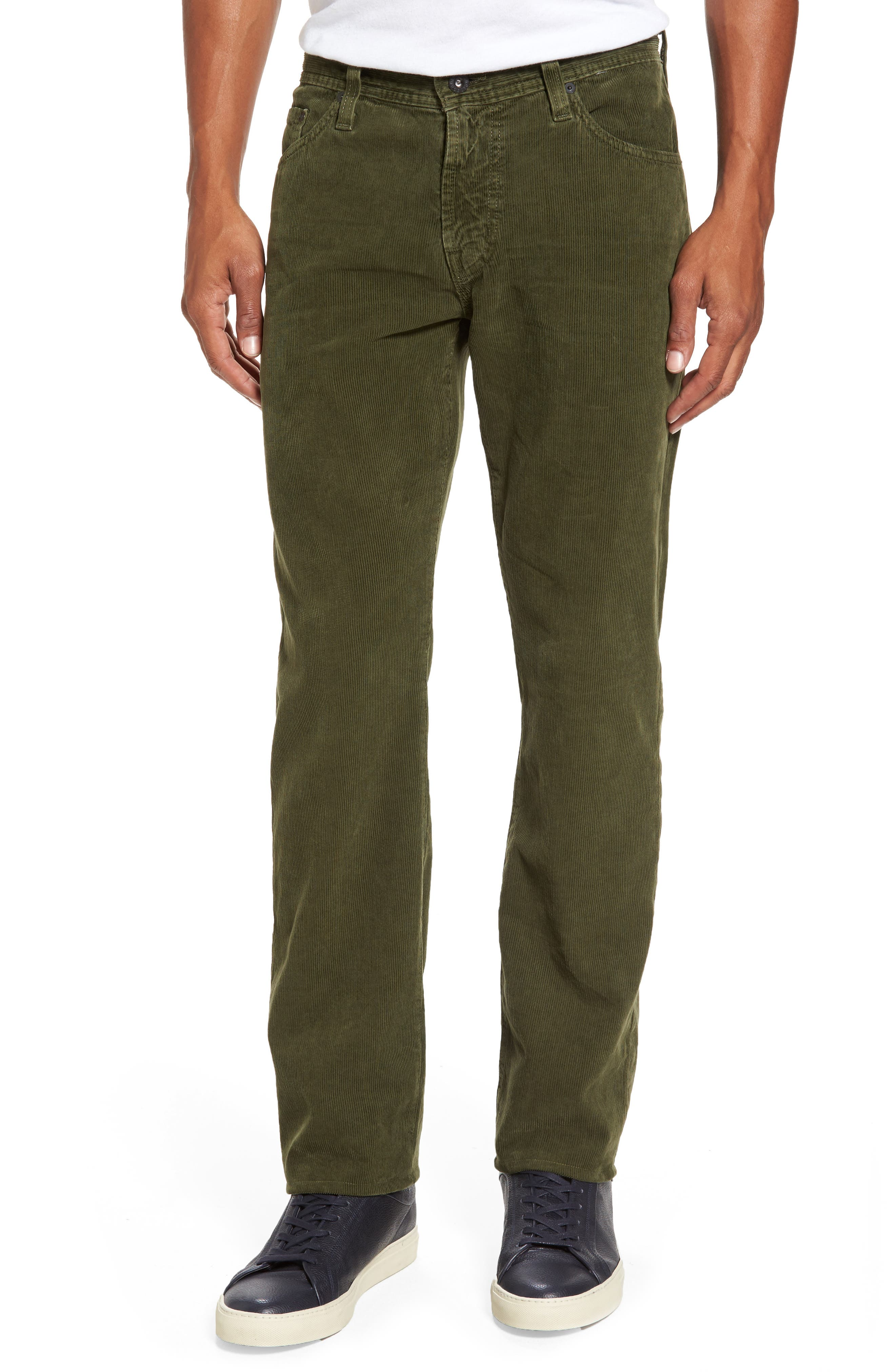 'Graduate' Tailored Straight Leg Corduroy Pants,                             Main thumbnail 1, color,                             Sulfur Climbing Ivy