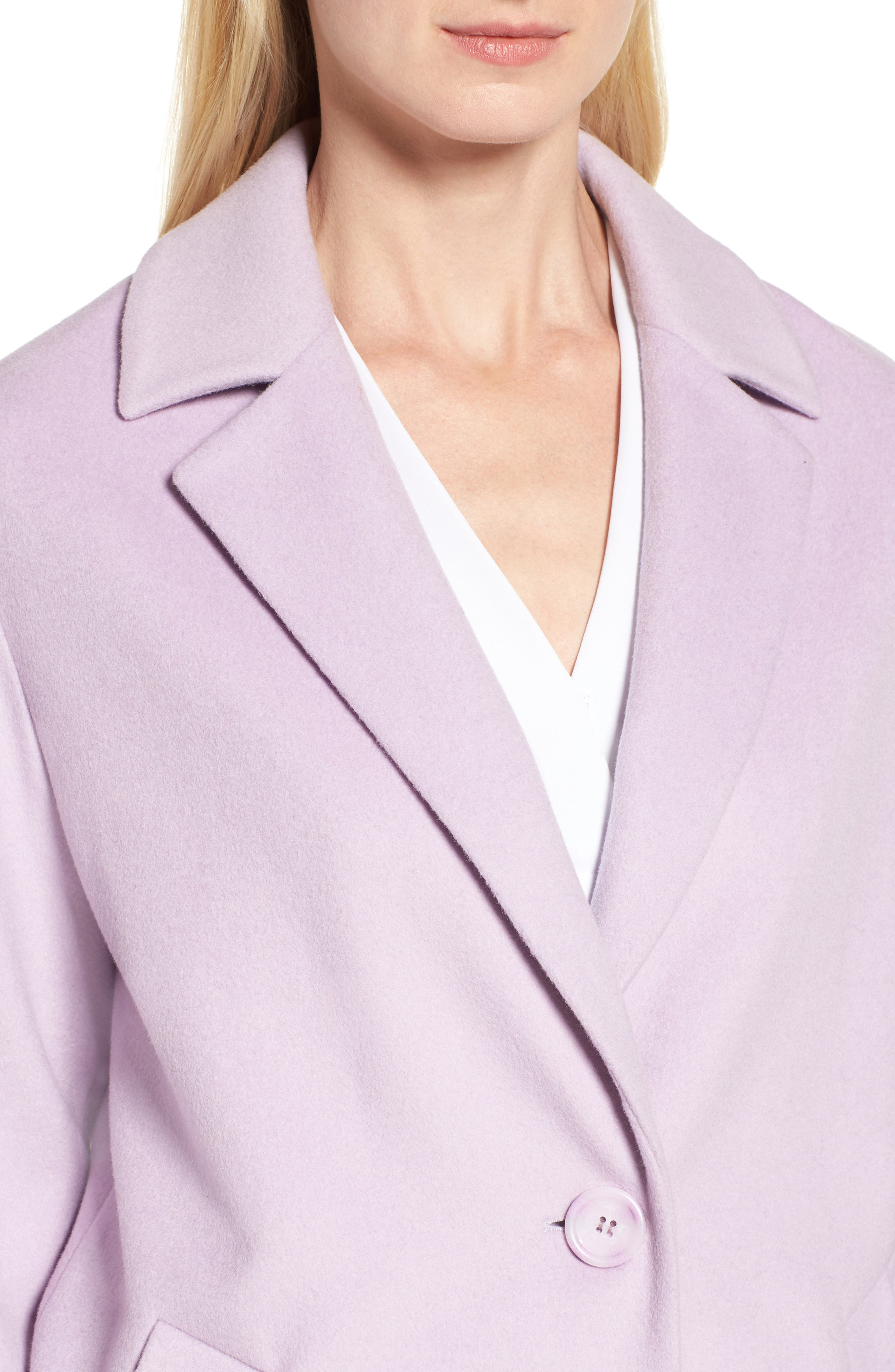 Wool Blend Coat,                             Alternate thumbnail 5, color,                             Icy Lavendar