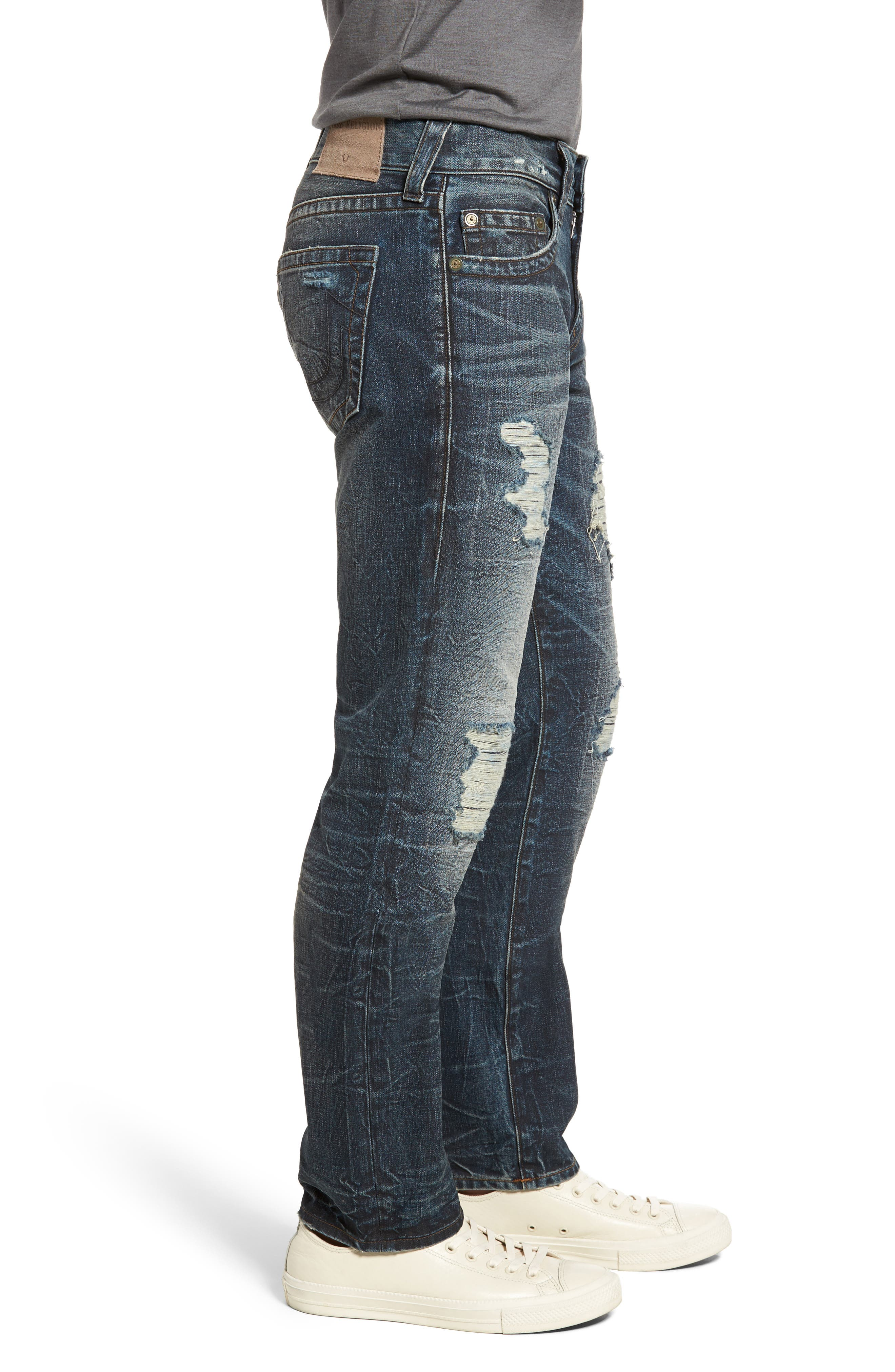 Geno Straight Fit Jeans,                             Alternate thumbnail 3, color,                             Patched Rider