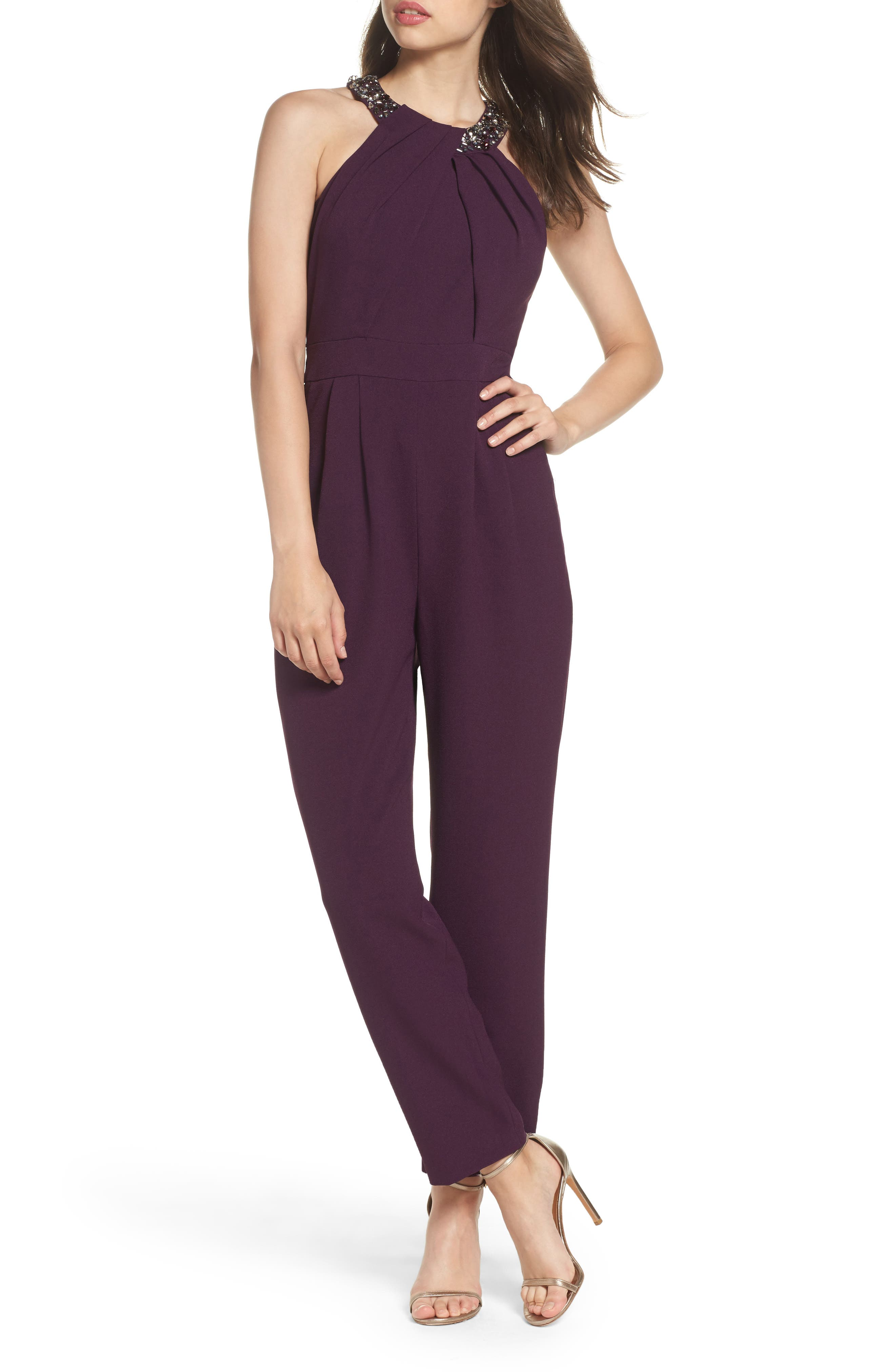 Eliza J Crystal Pleated Neck Jumpsuit (Regular & Petite)