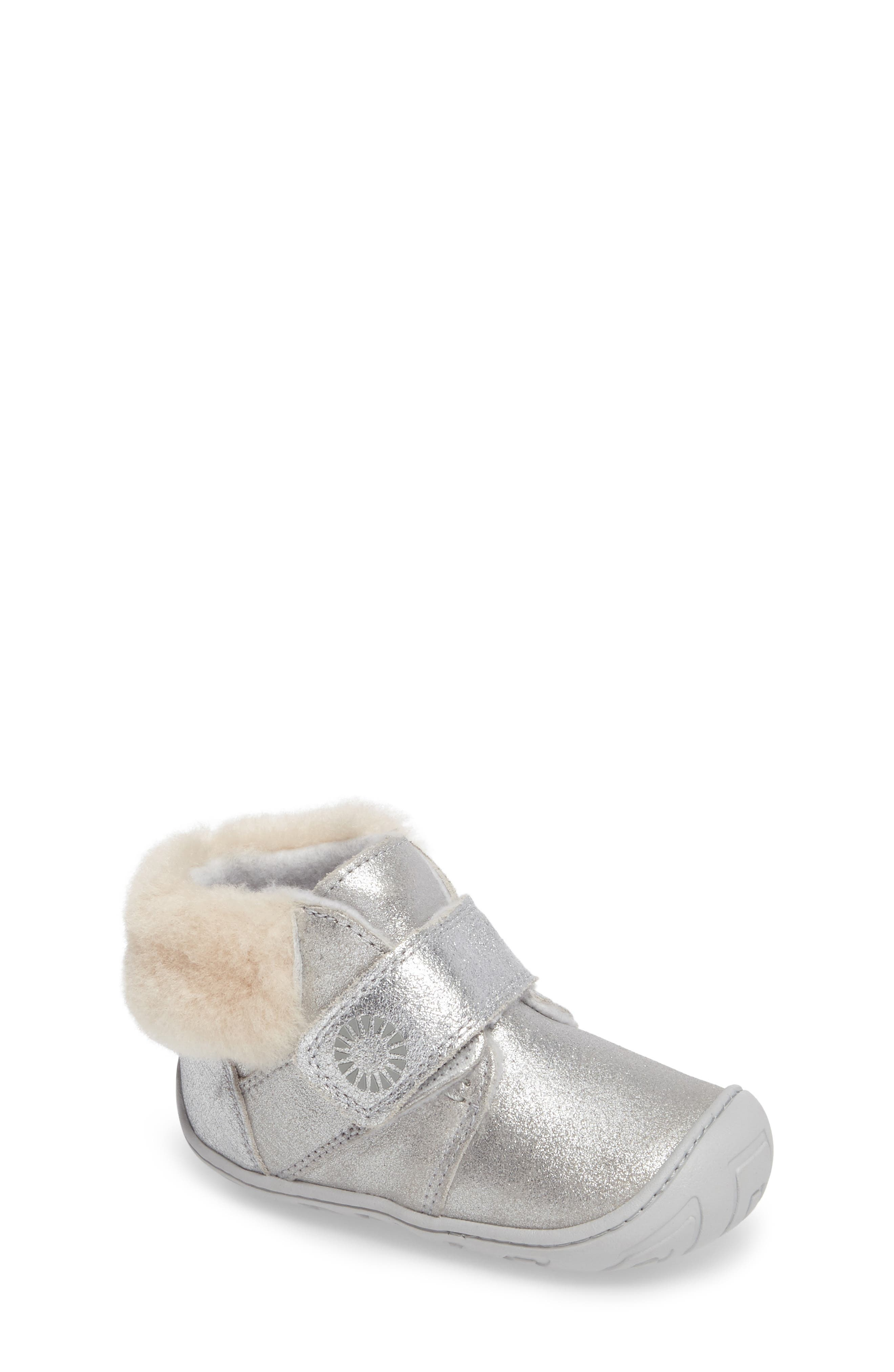 Jorgen Metallic Genuine Shearling Bootie,                             Main thumbnail 1, color,                             Silver