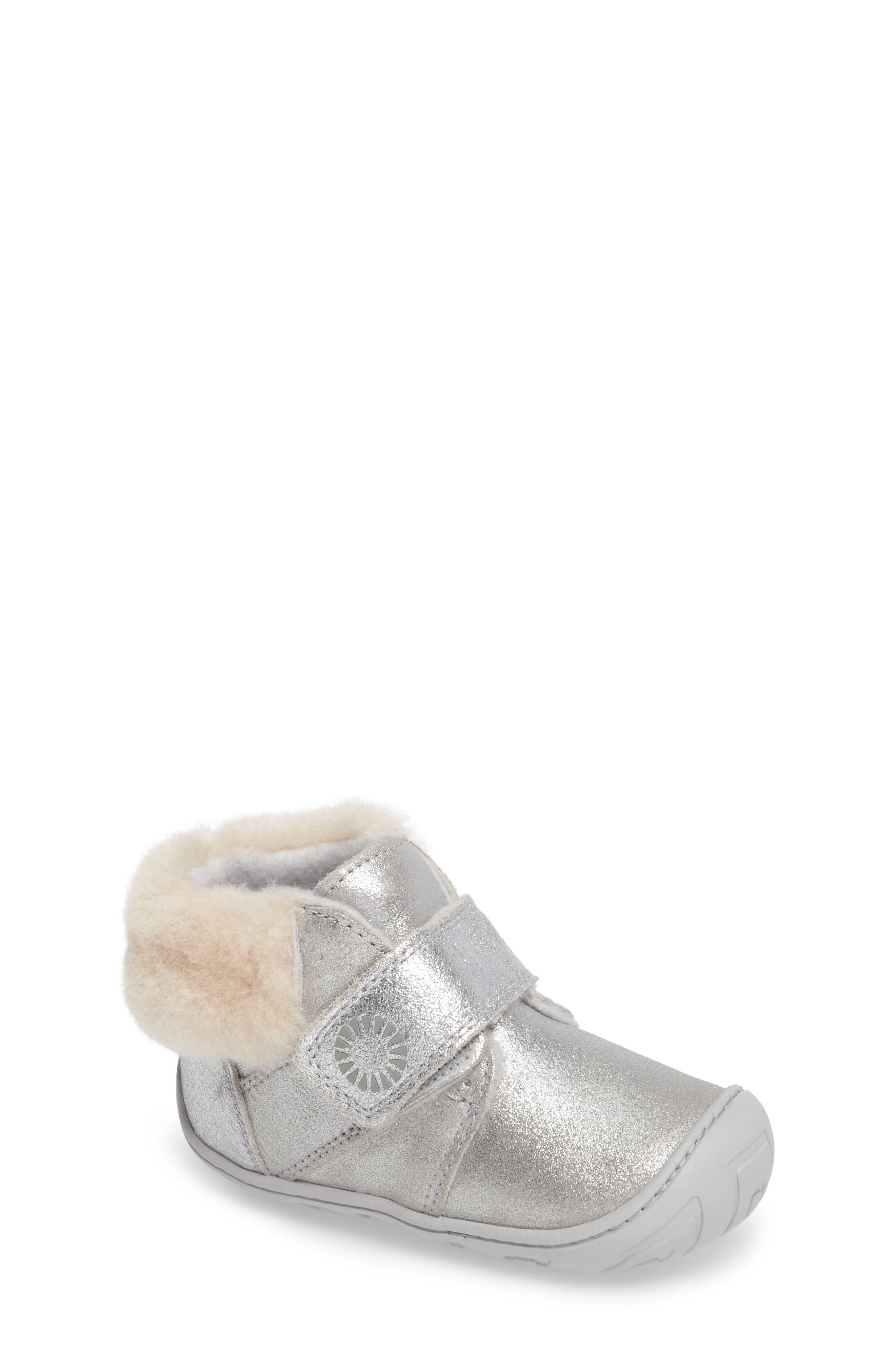 Main Image - UGG® Jorgen Metallic Genuine Shearling Bootie (Baby, Walker & Toddler)