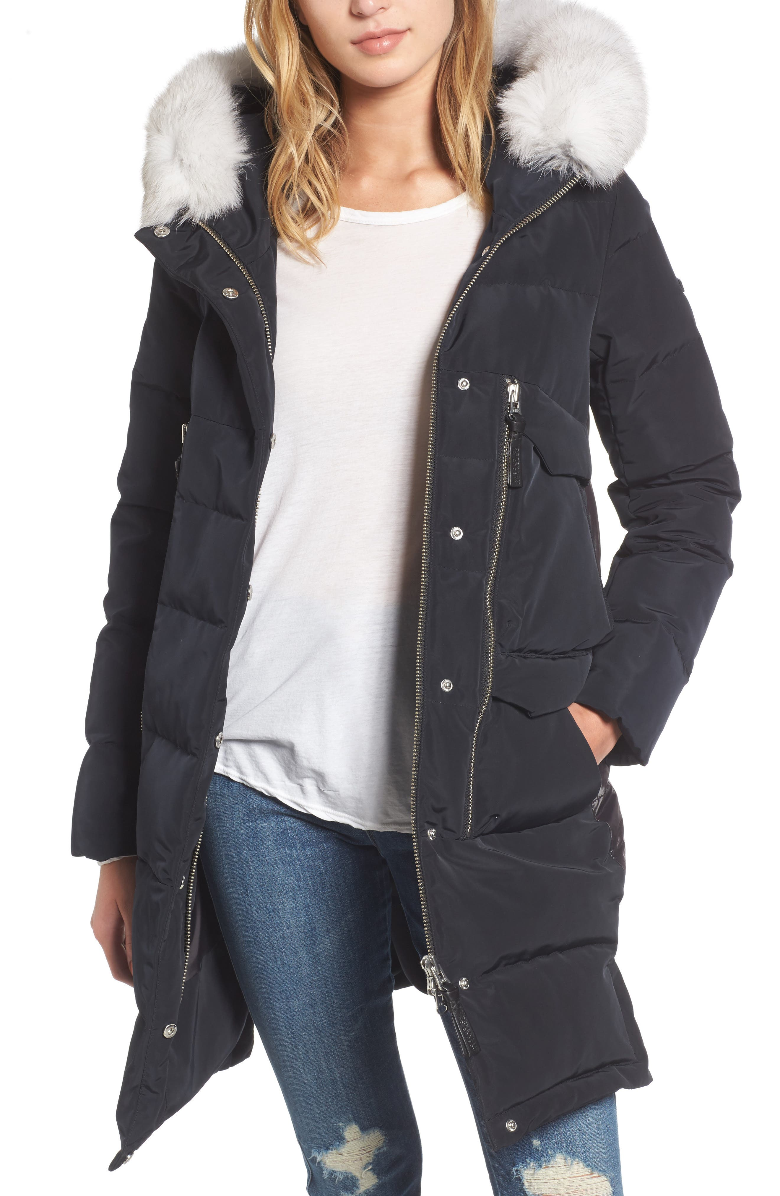 Genuine Fox Fur Trim Down Coat,                             Main thumbnail 1, color,                             Black