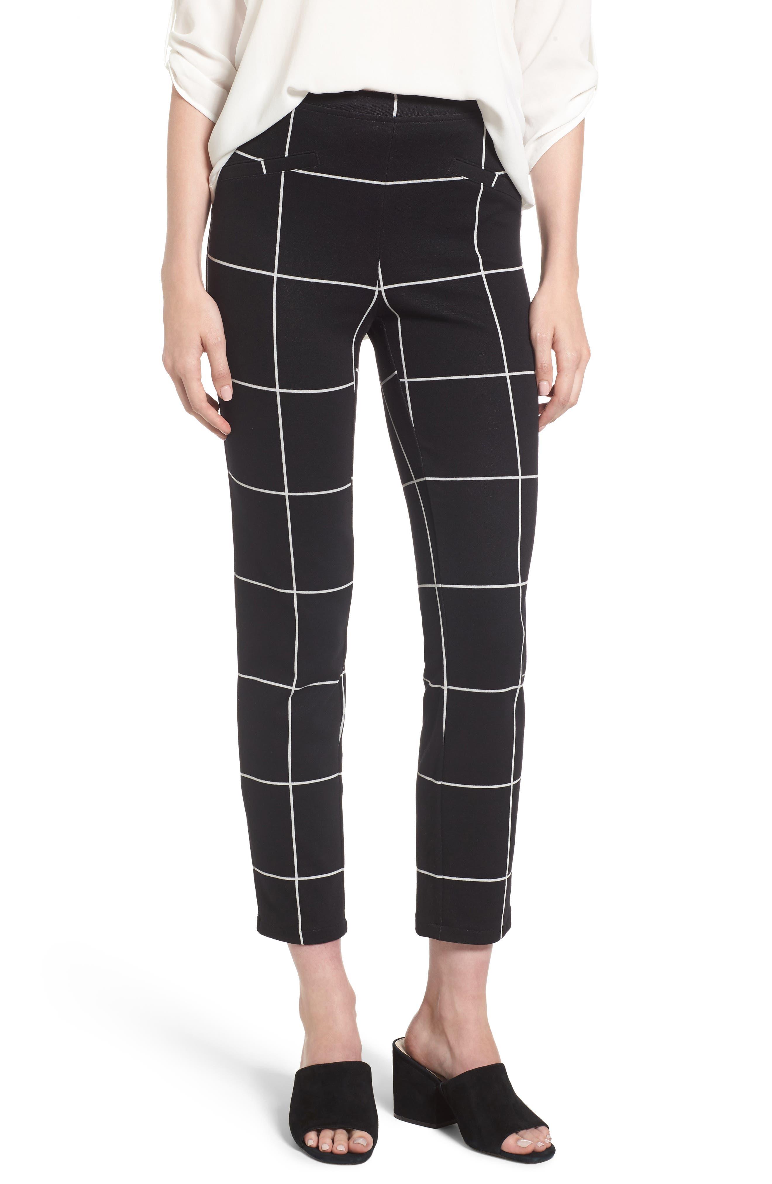 Leith Windowpane Print Skinny Pants