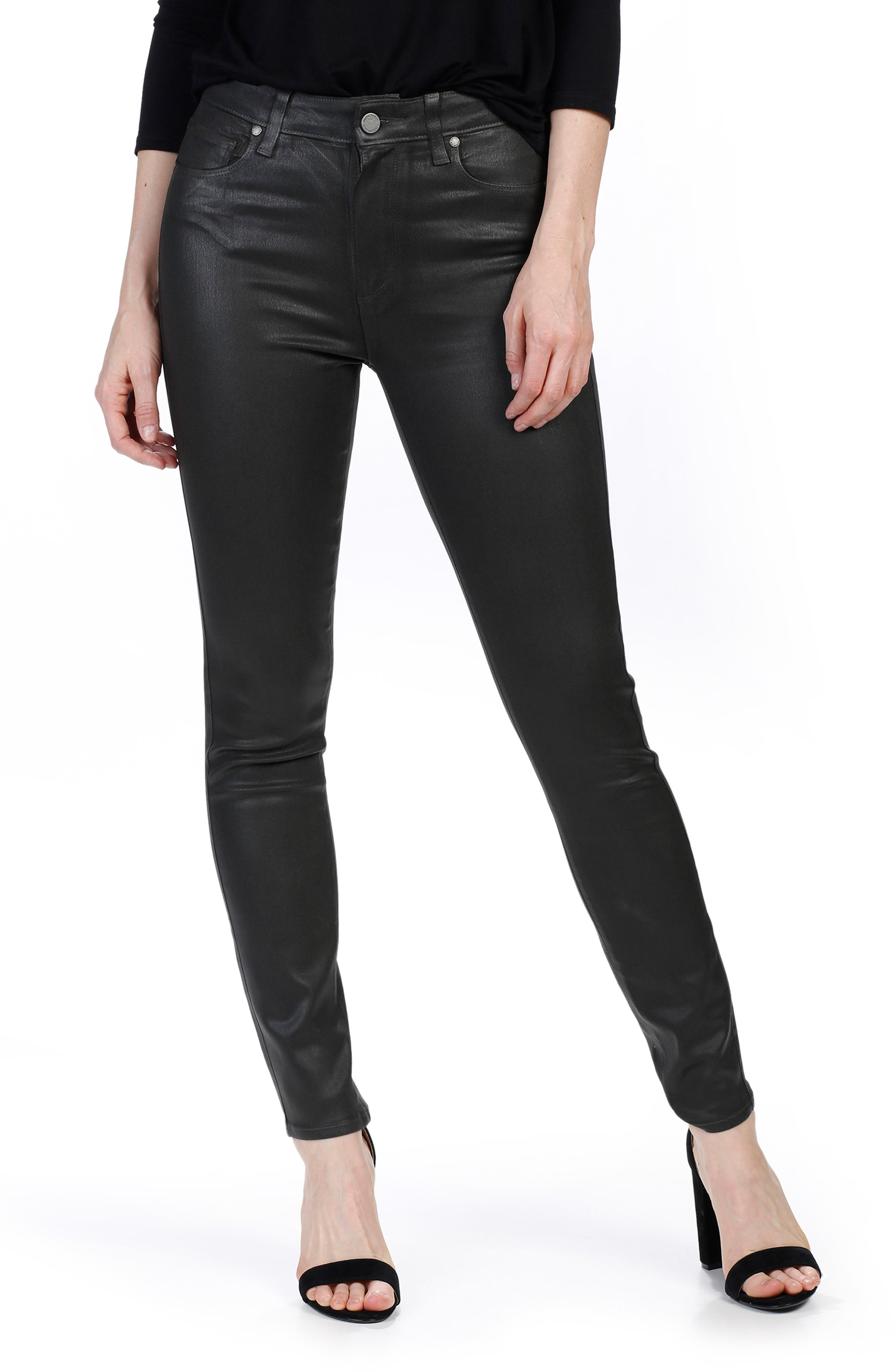 Transcend - Hoxton Coated High Waist Ankle Skinny Jeans,                             Alternate thumbnail 3, color,                             Deep Juniper Luxe Coating
