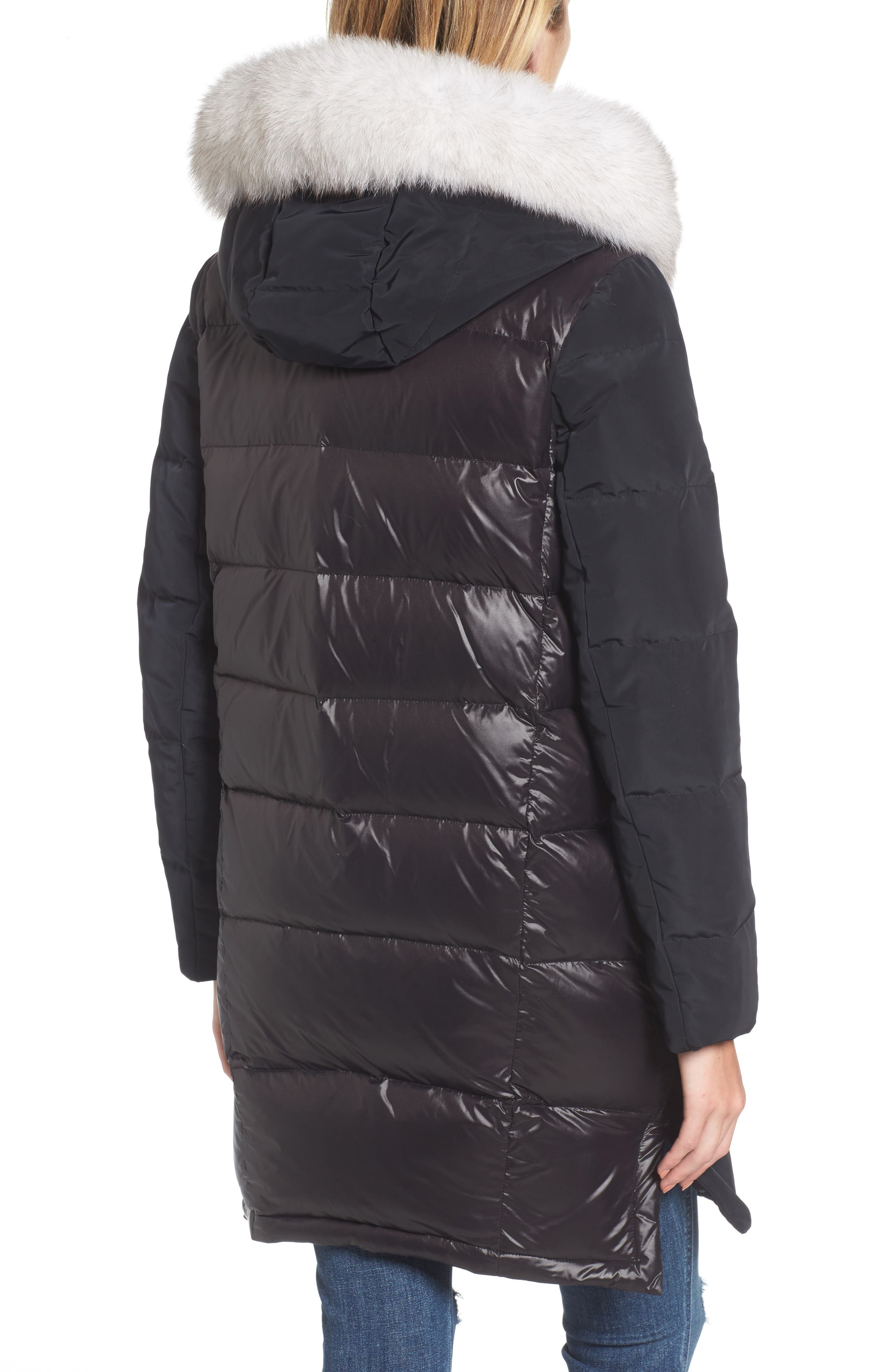 Genuine Fox Fur Trim Down Coat,                             Alternate thumbnail 2, color,                             Black