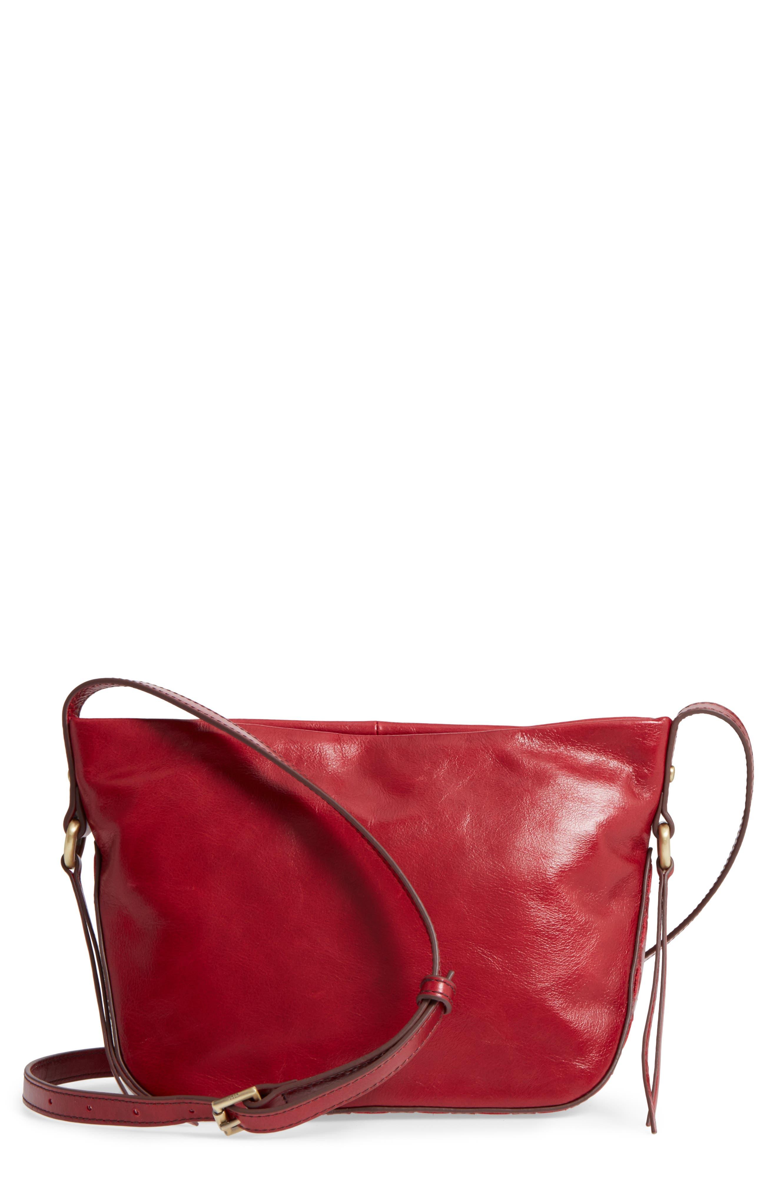 Muse Calfskin Leather Crossbody Bag,                             Main thumbnail 1, color,                             Cardinal