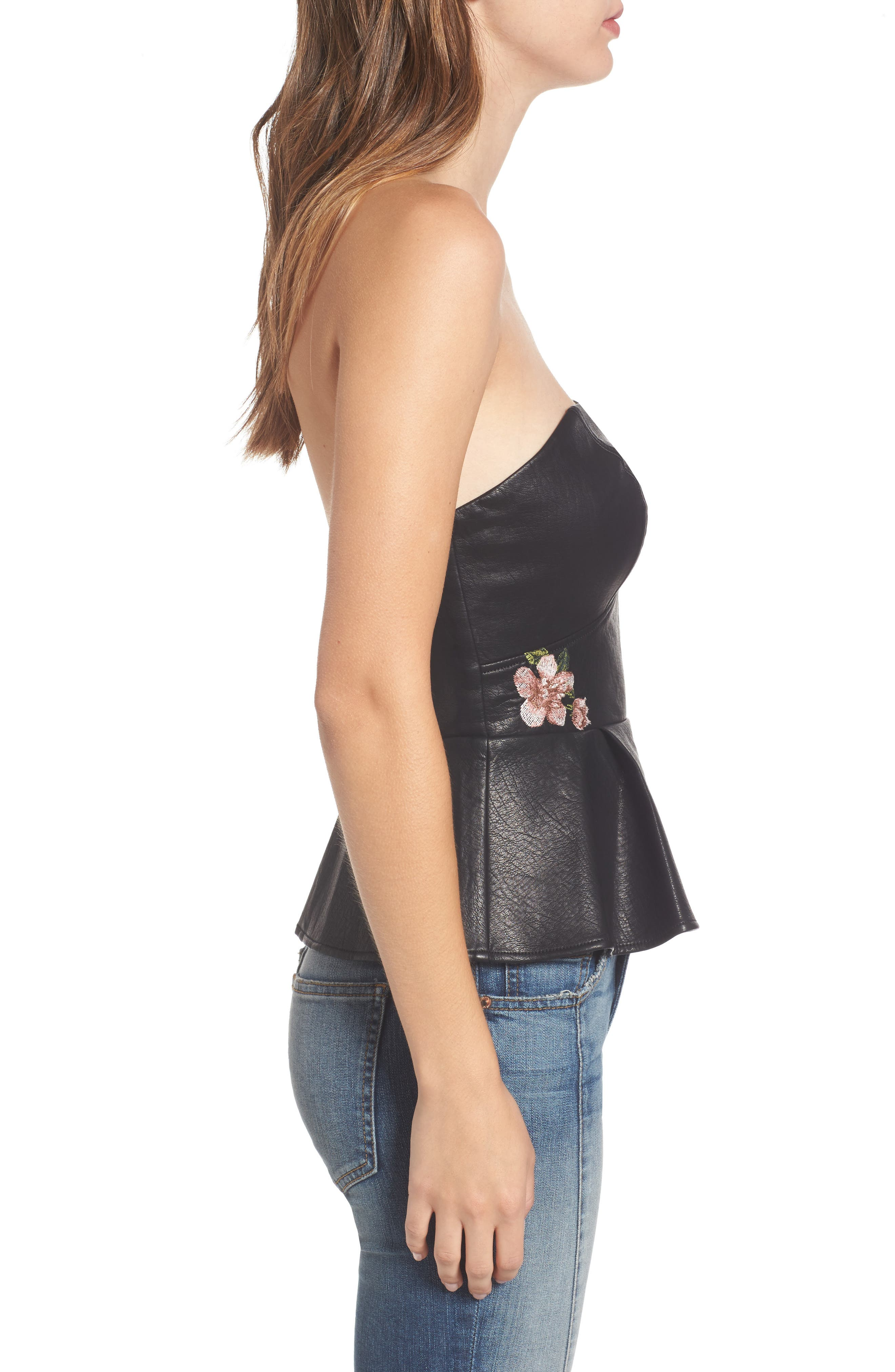 Alternate Image 3  - J.O.A. Faux Leather Bustier