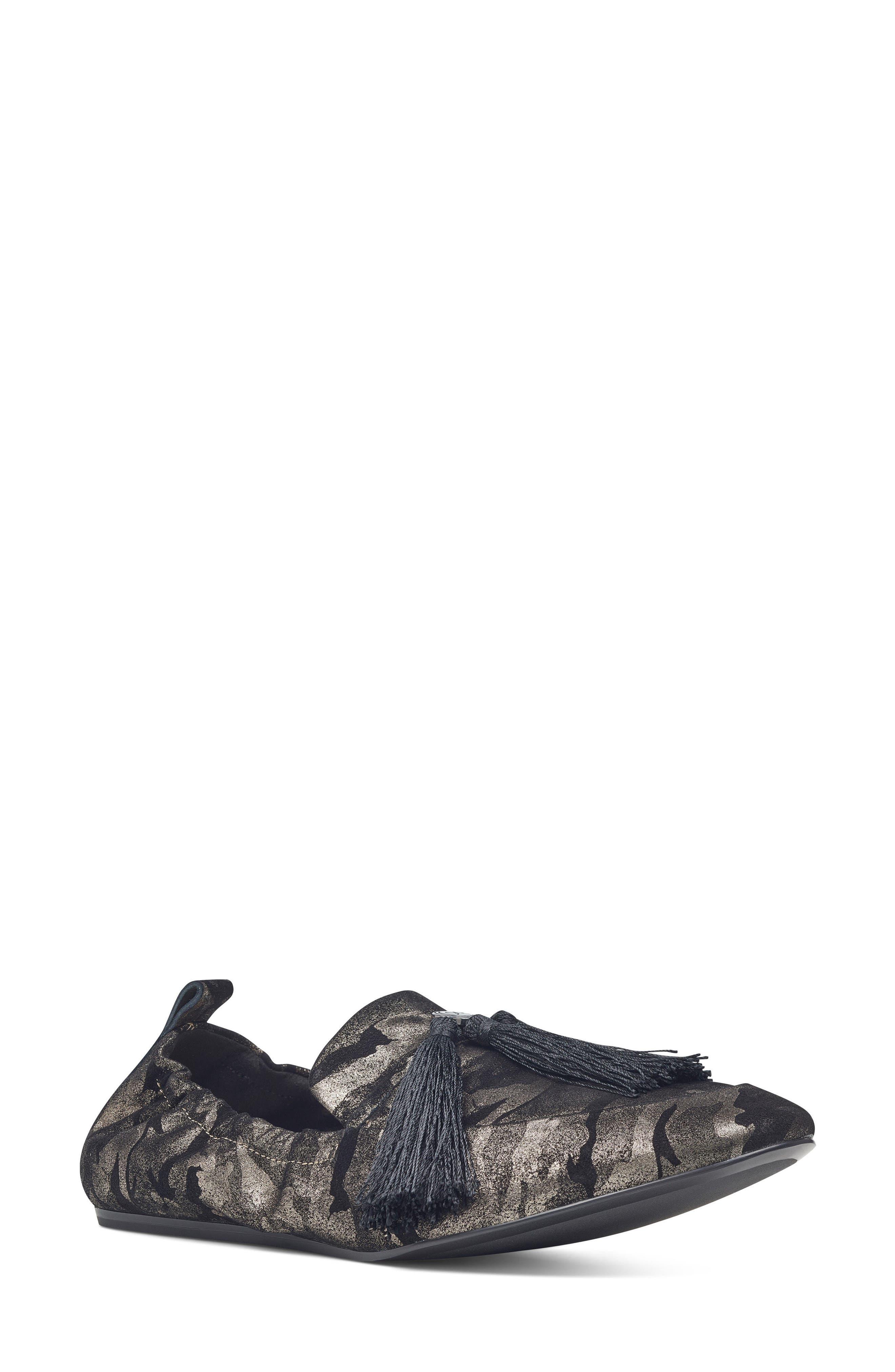 Ballard Tassel Loafer Flat,                             Main thumbnail 1, color,                             Pewter Leather