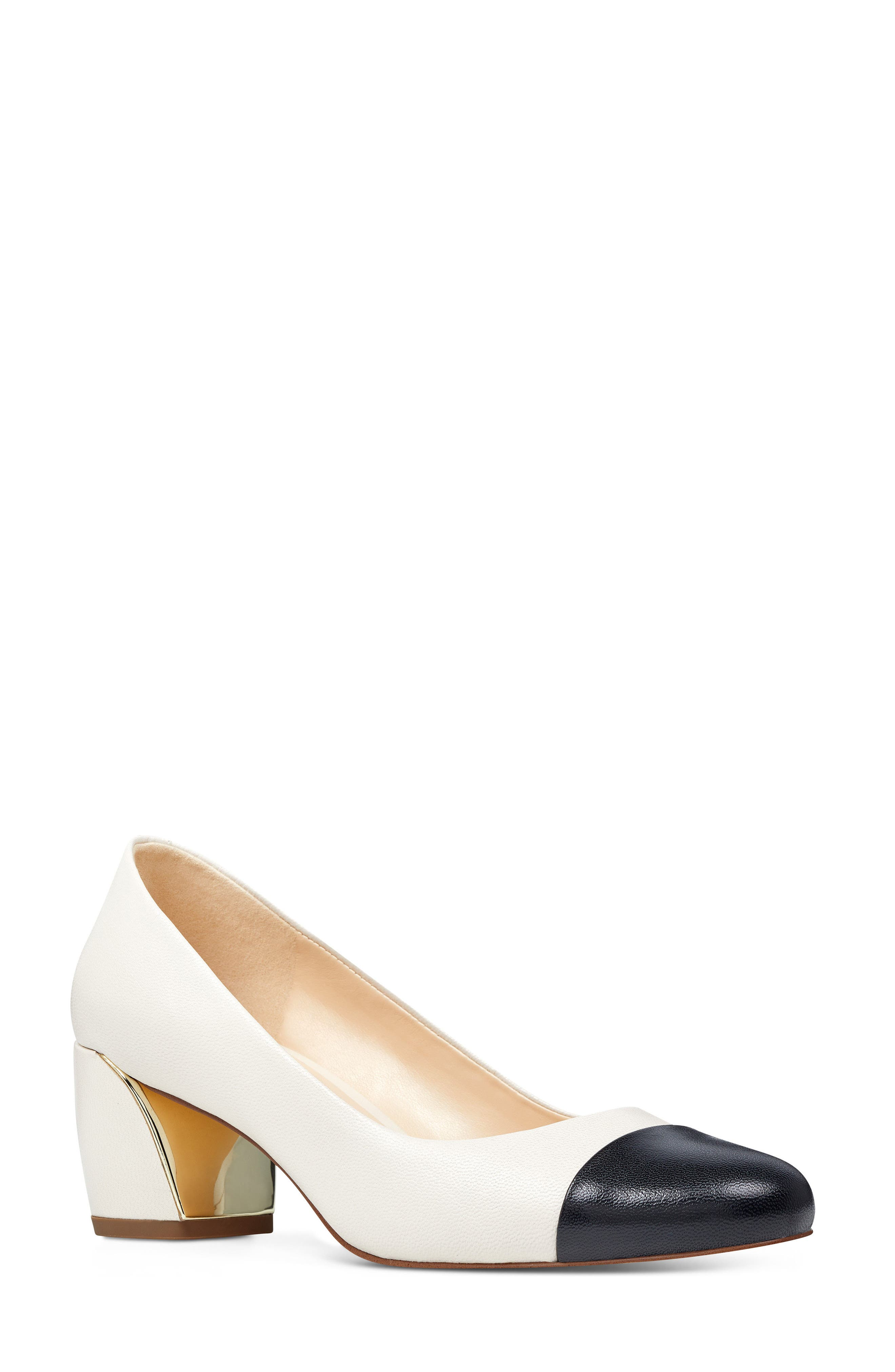 Jineya Cap Toe Pump,                         Main,                         color, Off White/ Black Leather