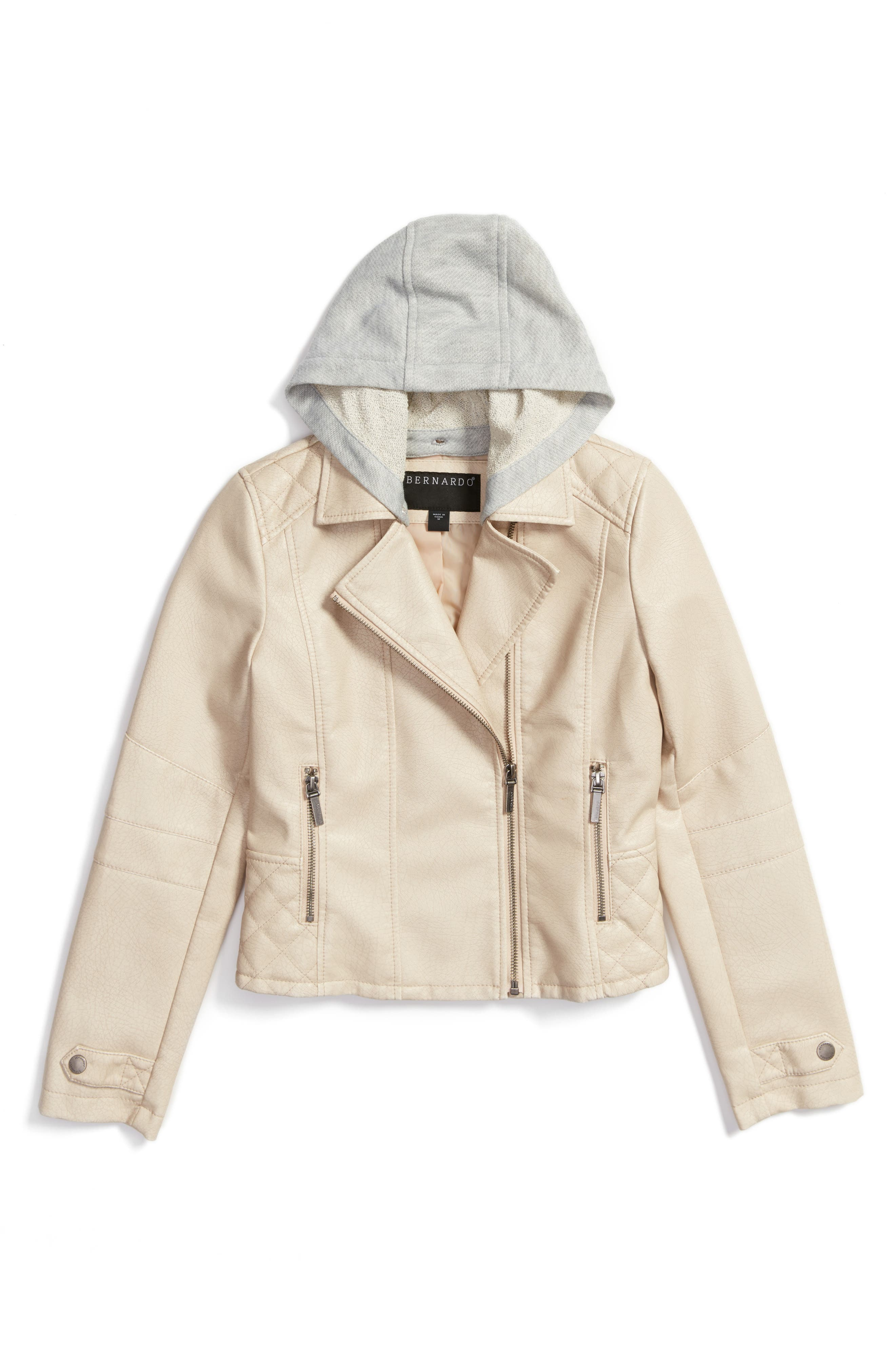 Hooded Faux Leather Moto Jacket,                         Main,                         color, French Beige