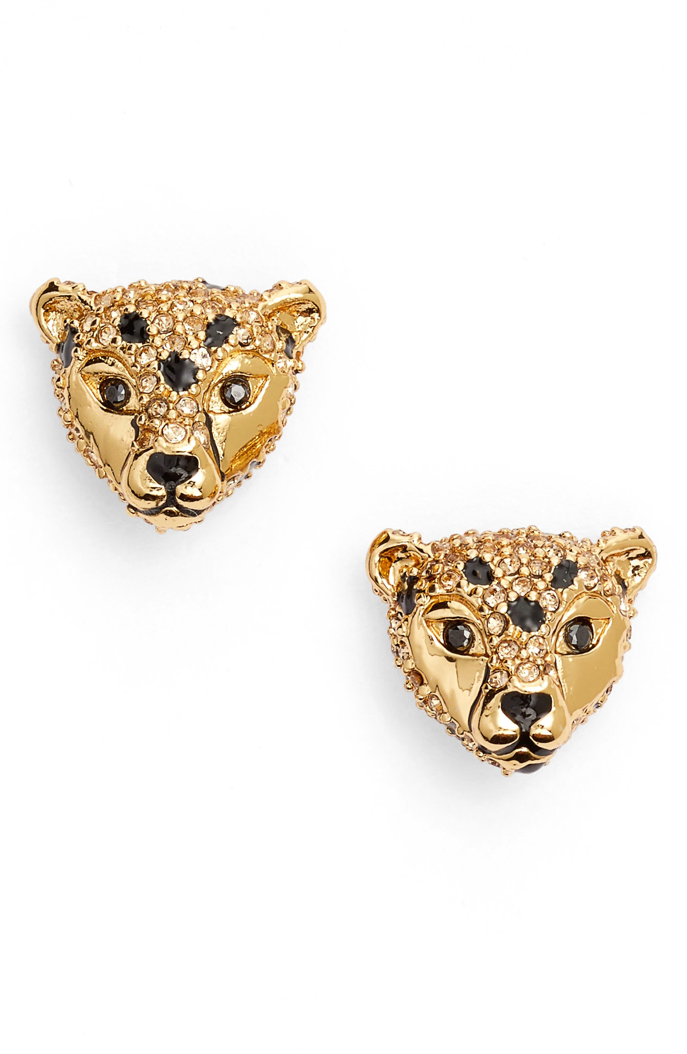 run wild cheetah stud earrings,                         Main,                         color, Beige Multi