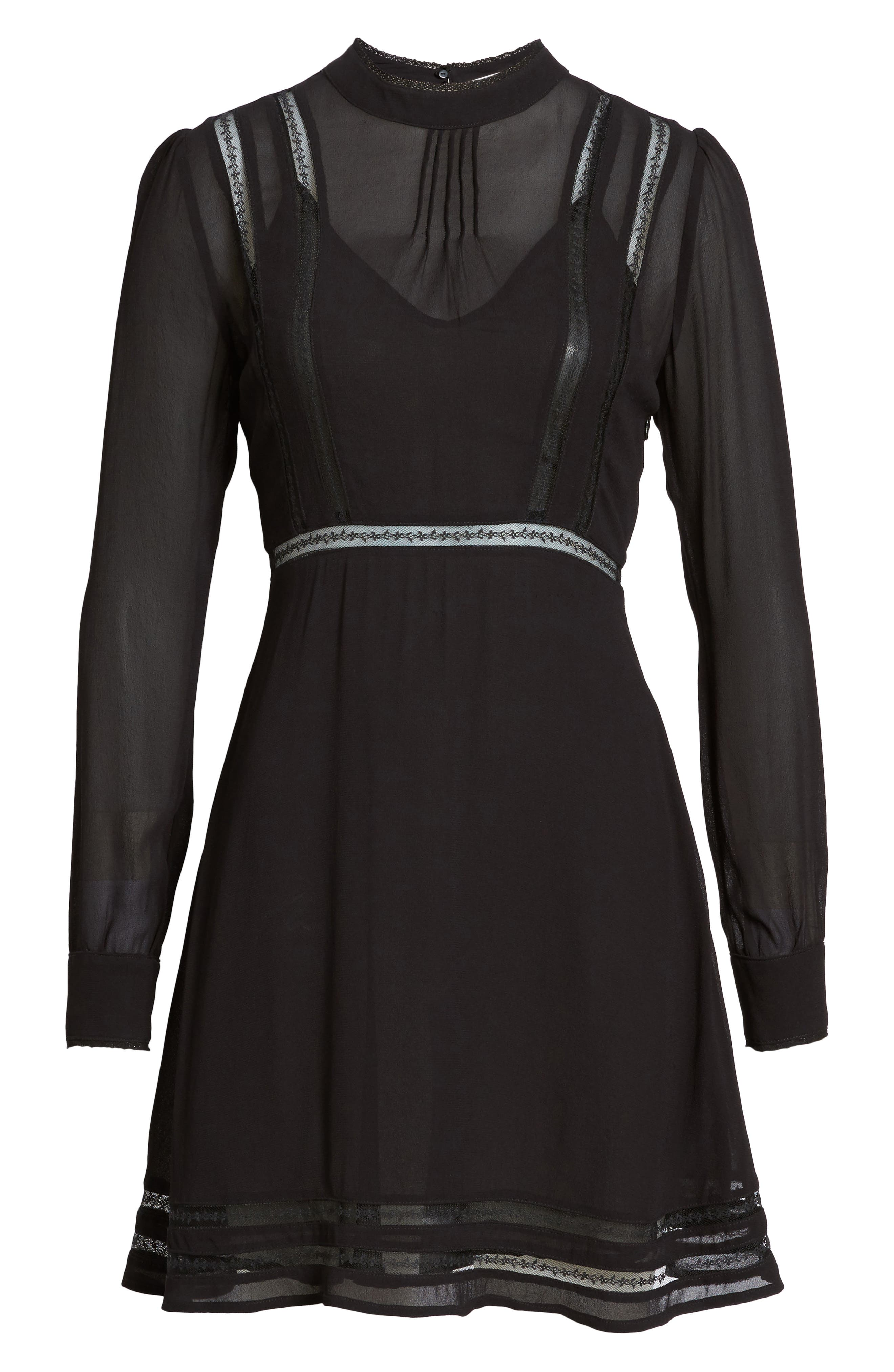 Kirsten A-Line Dress,                             Alternate thumbnail 6, color,                             Black