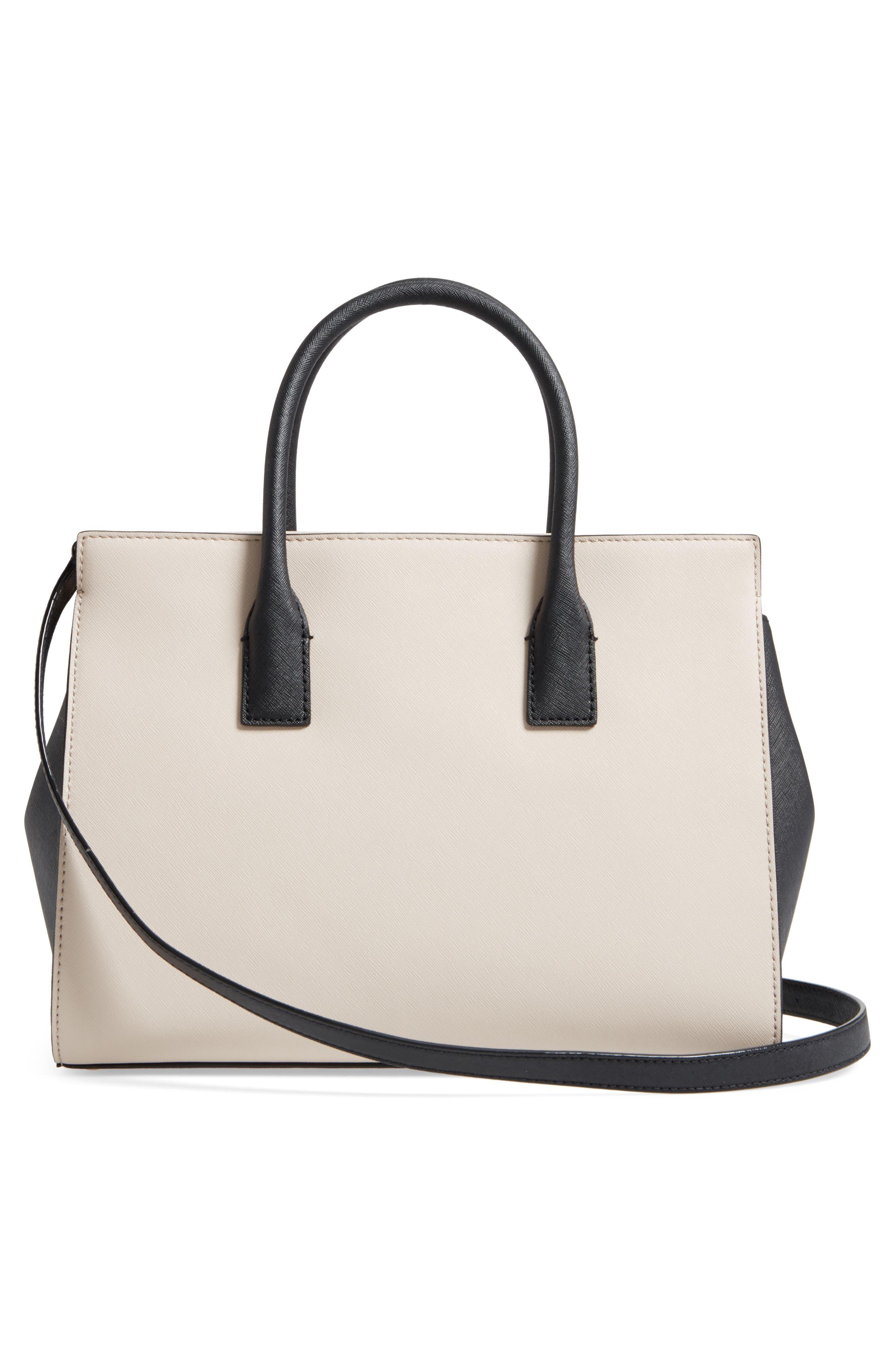 cameron street - candace leather satchel,                             Alternate thumbnail 3, color,                             Tusk/ Black