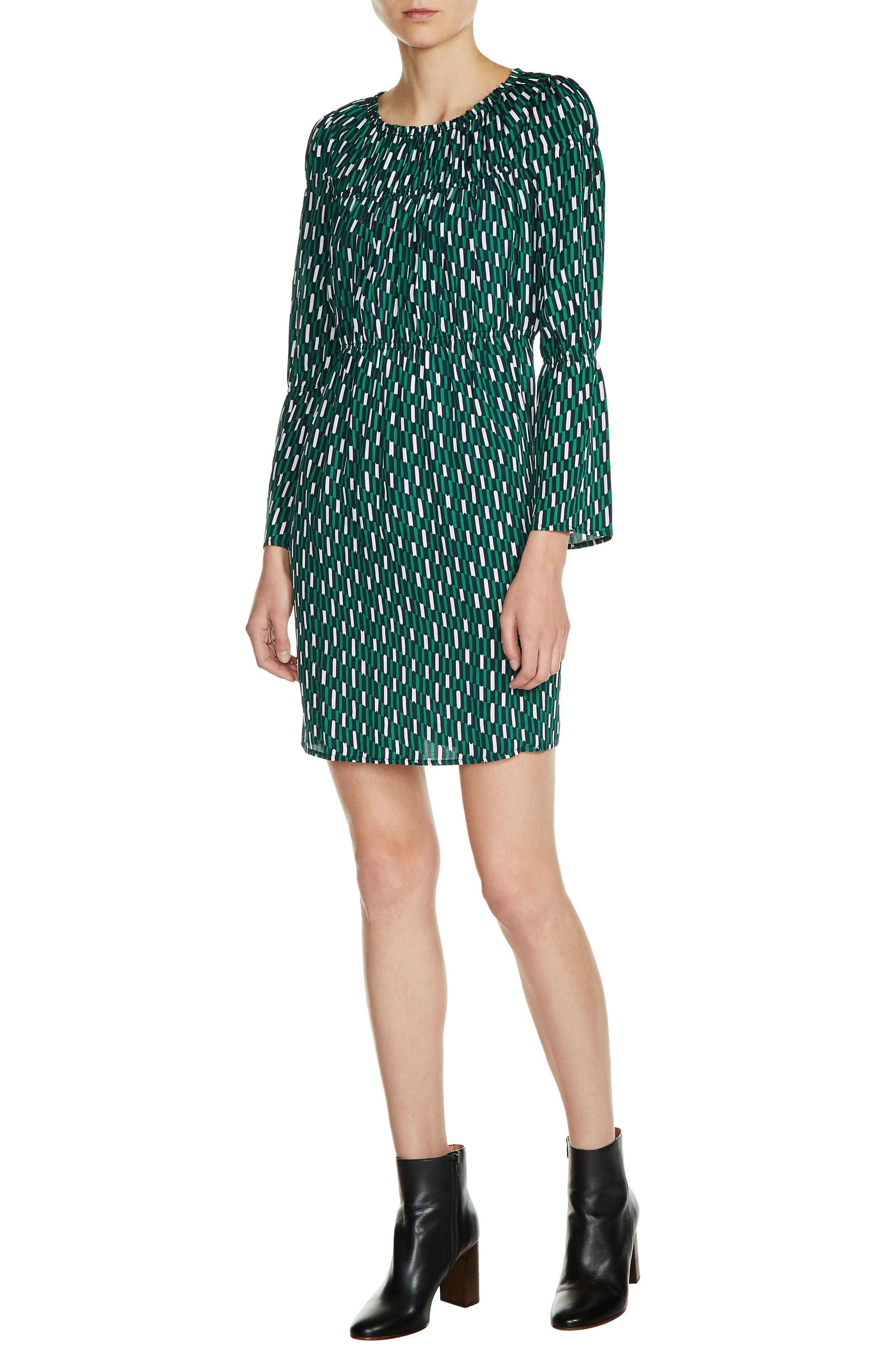 maje Bell Sleeve Print Dress