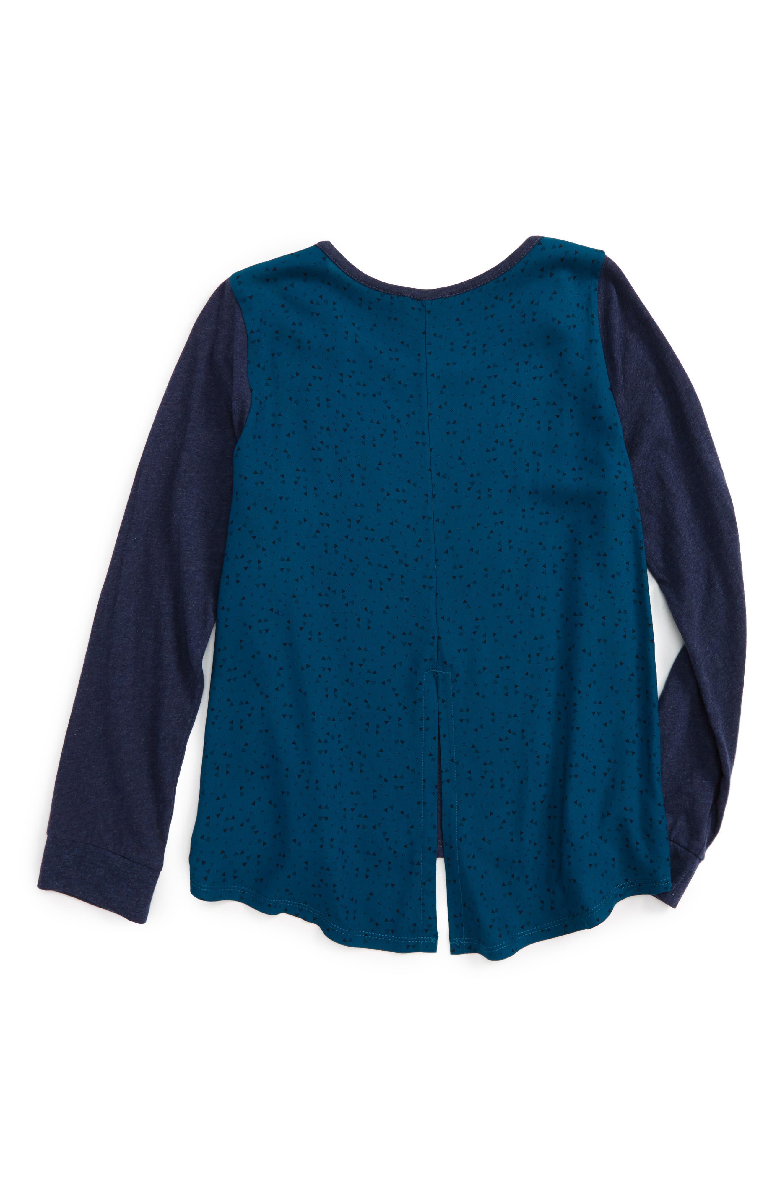 Woven Split Back Shirt,                             Alternate thumbnail 2, color,                             Navy Peacoat Heather