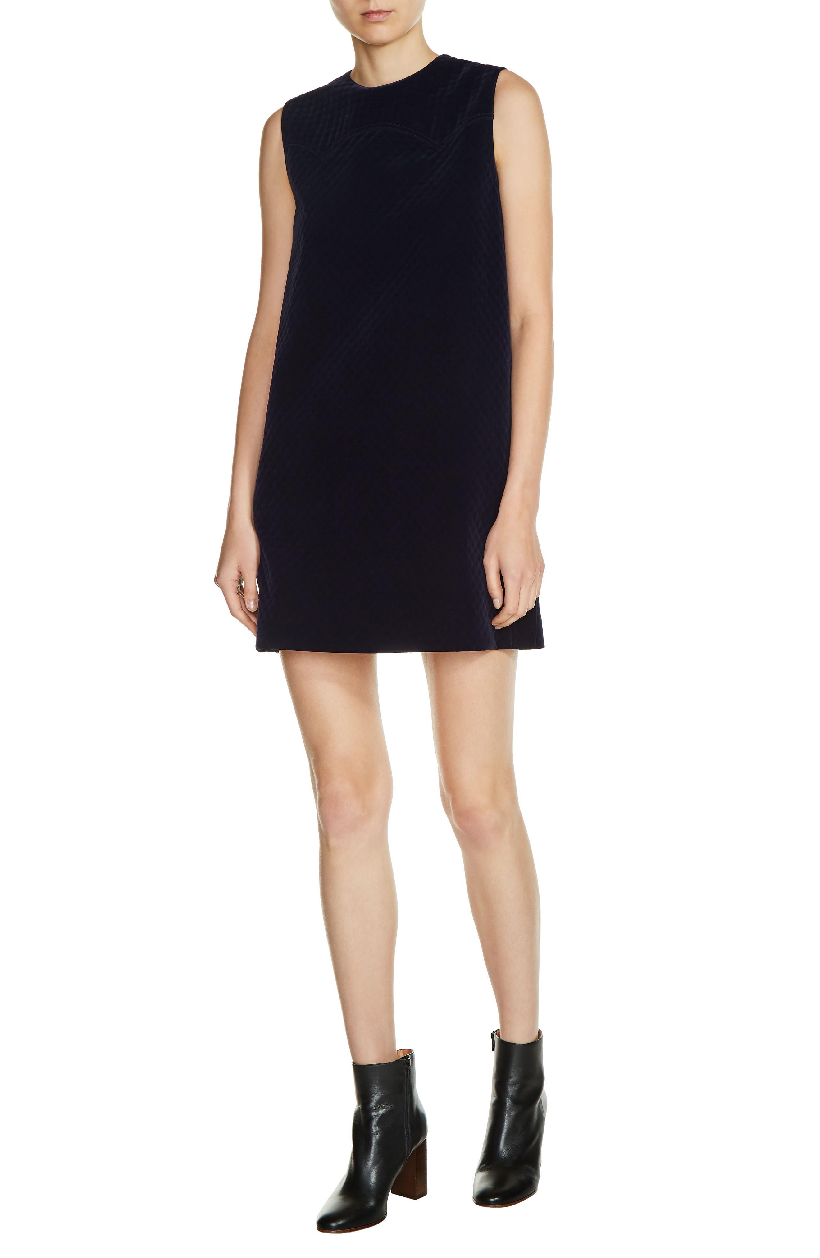 Quilted Velvet Shift Dress,                         Main,                         color, Navy