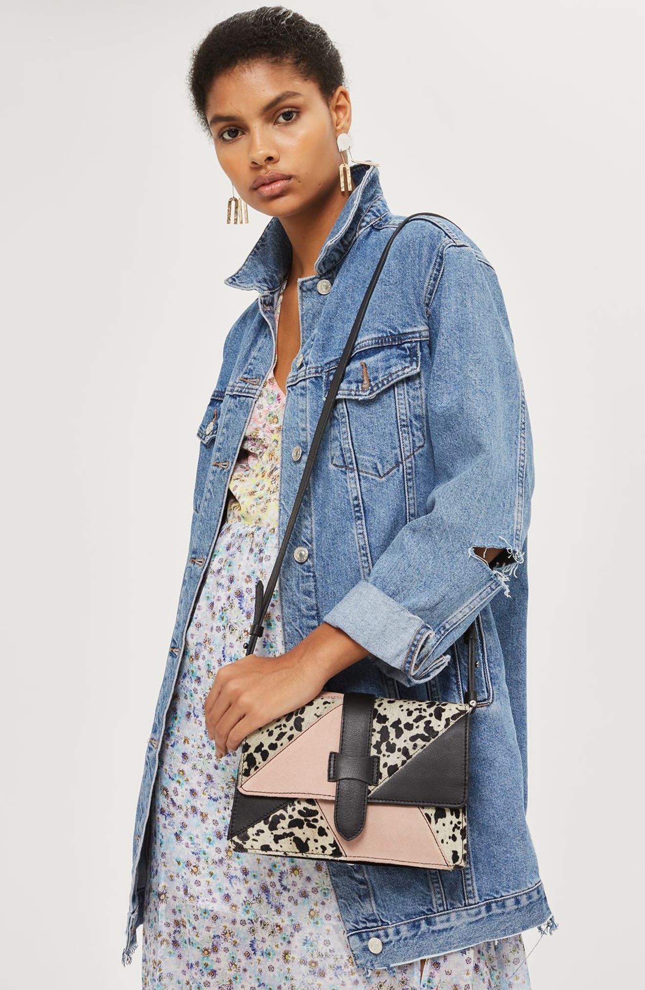 Alternate Image 2  - Topshop Premium Leather & Genuine Calf Hair Patchwork Crossbody Bag